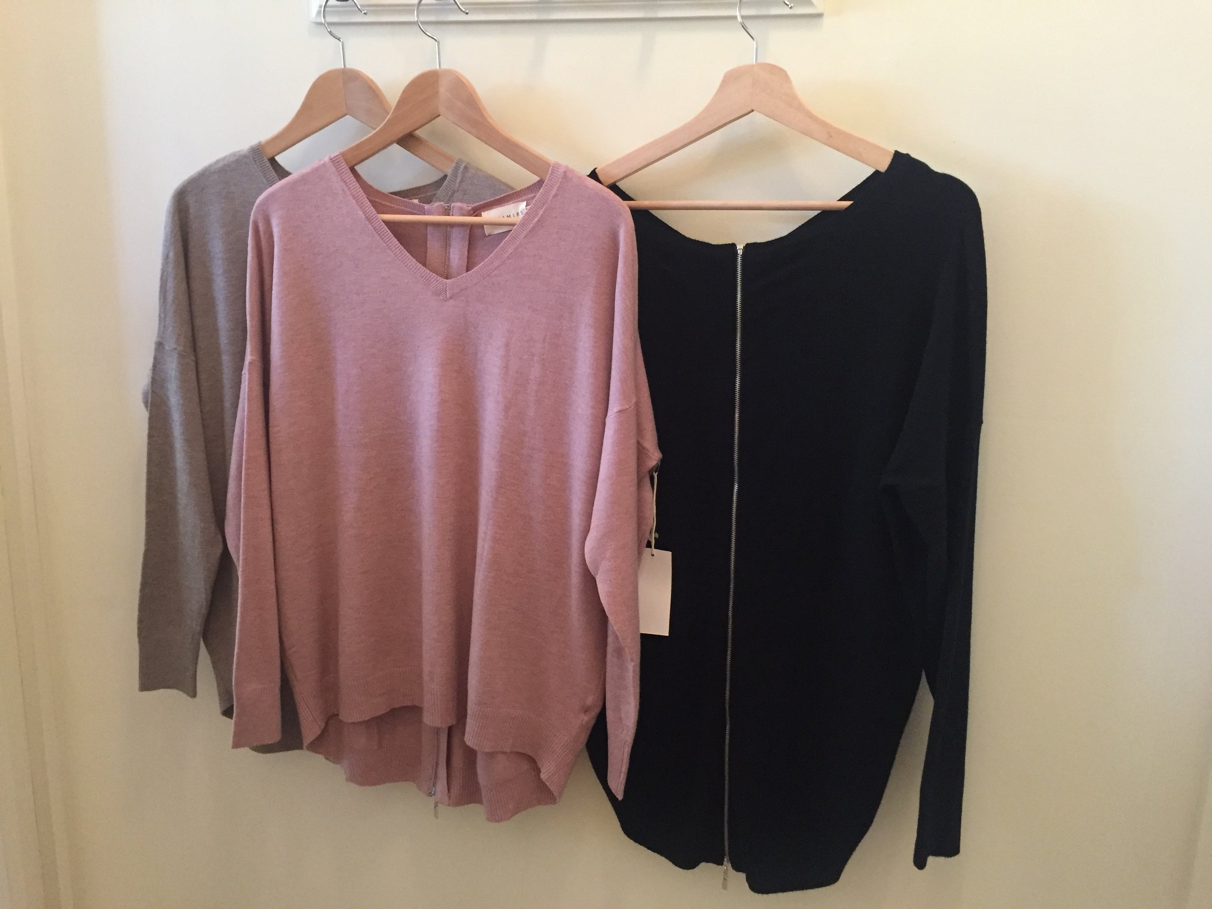 Exposed Zip-back Dreamers Sweater, $42