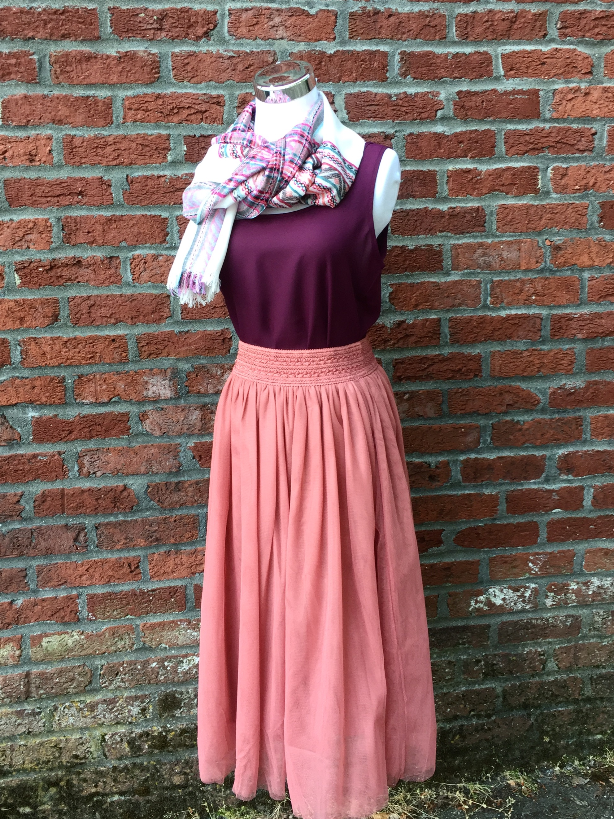 Wine Tank (Also in orange, $21) Pink Midi Skirt ($35)