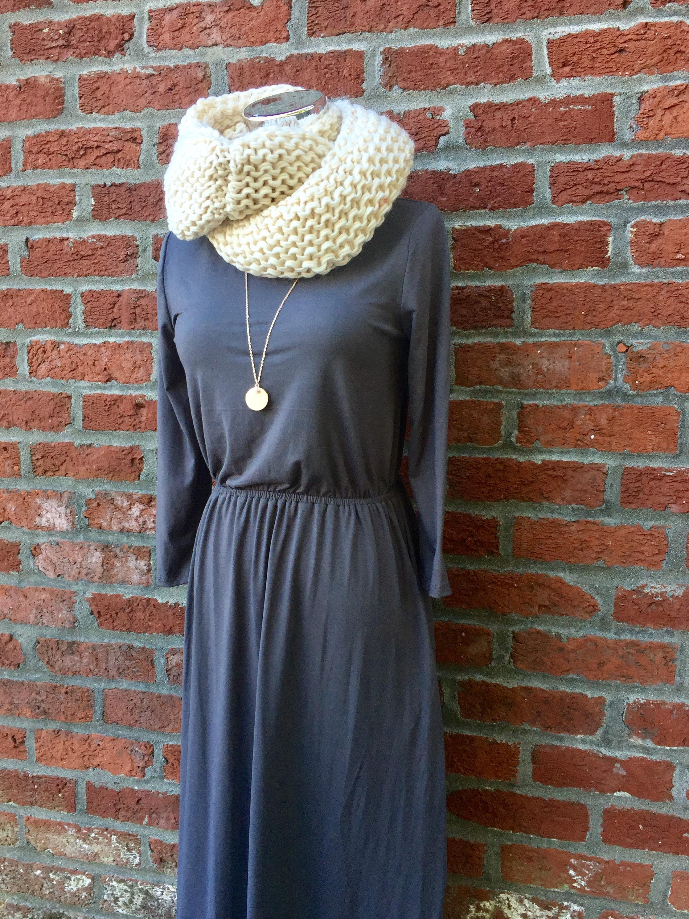 Reb + J Grey Dress ($35) with Chunky Scarf ($21)