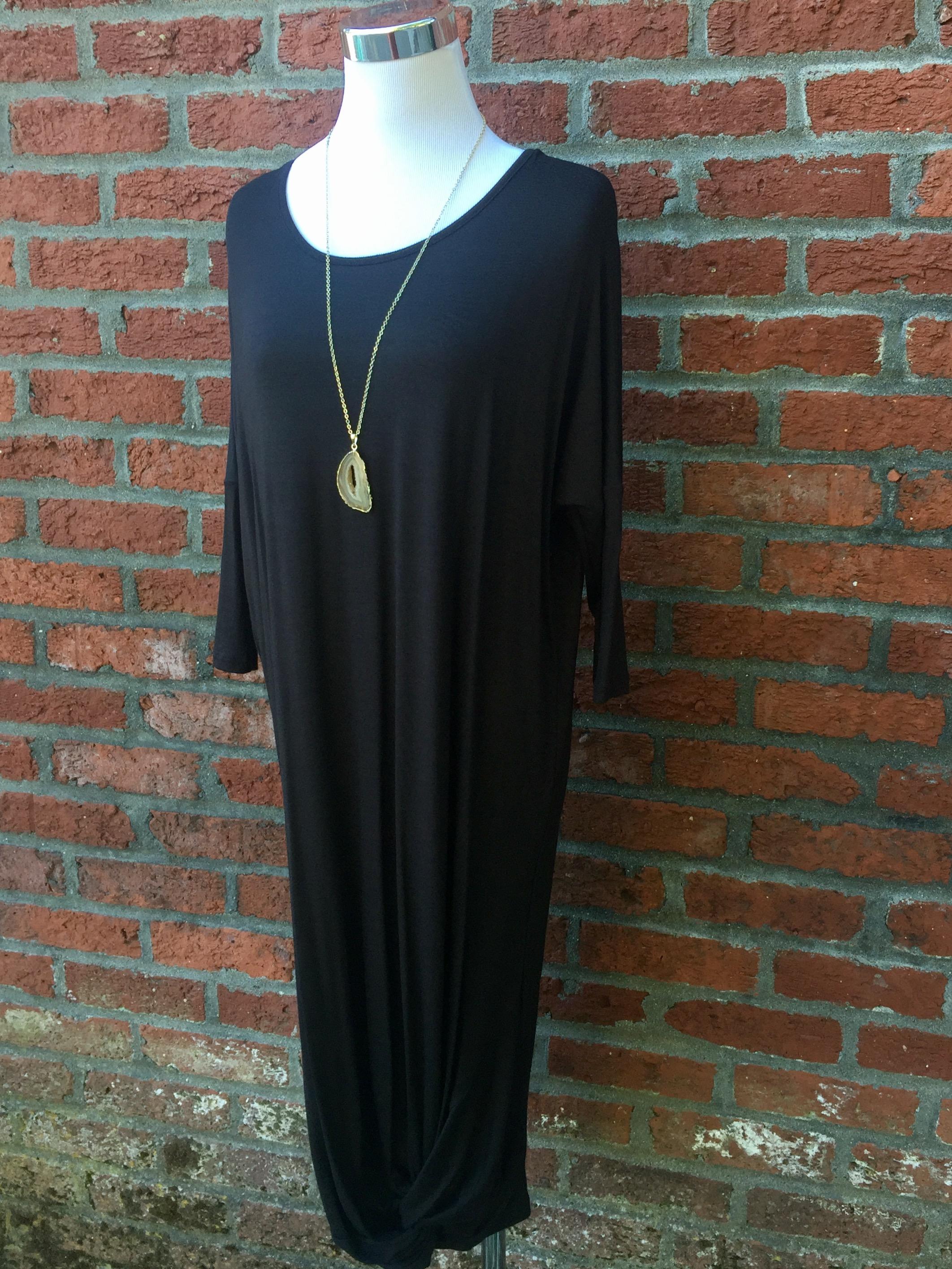 Twisted Midi Dress (Burgundy and Black, $35)