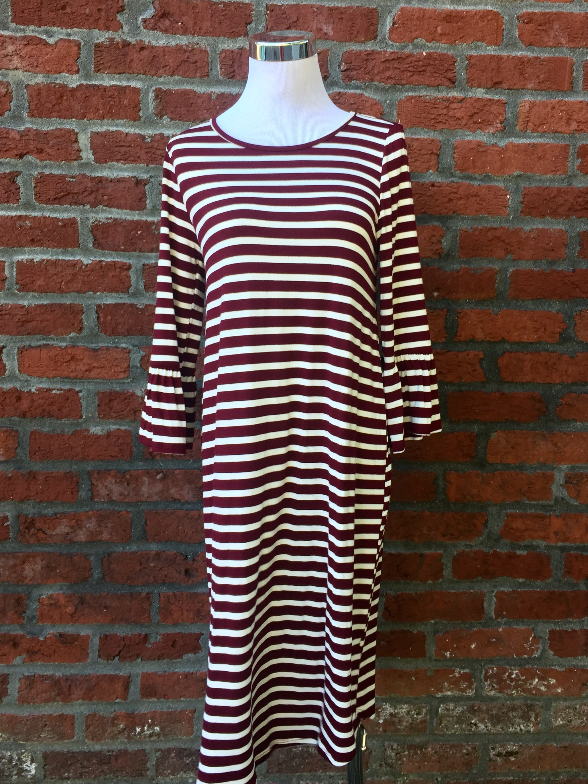 Striped Bell Sleeve Dress (Wine and Charcoal, $38)