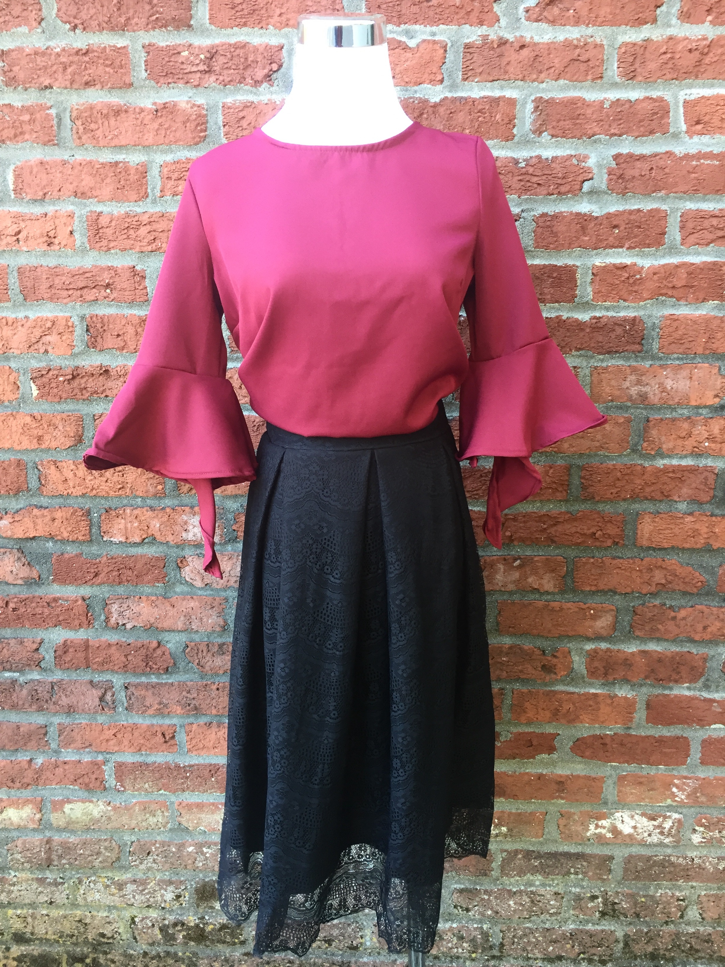 Bell Sleeve Blouse ($32) w/ Black Lace Skirt ($35)