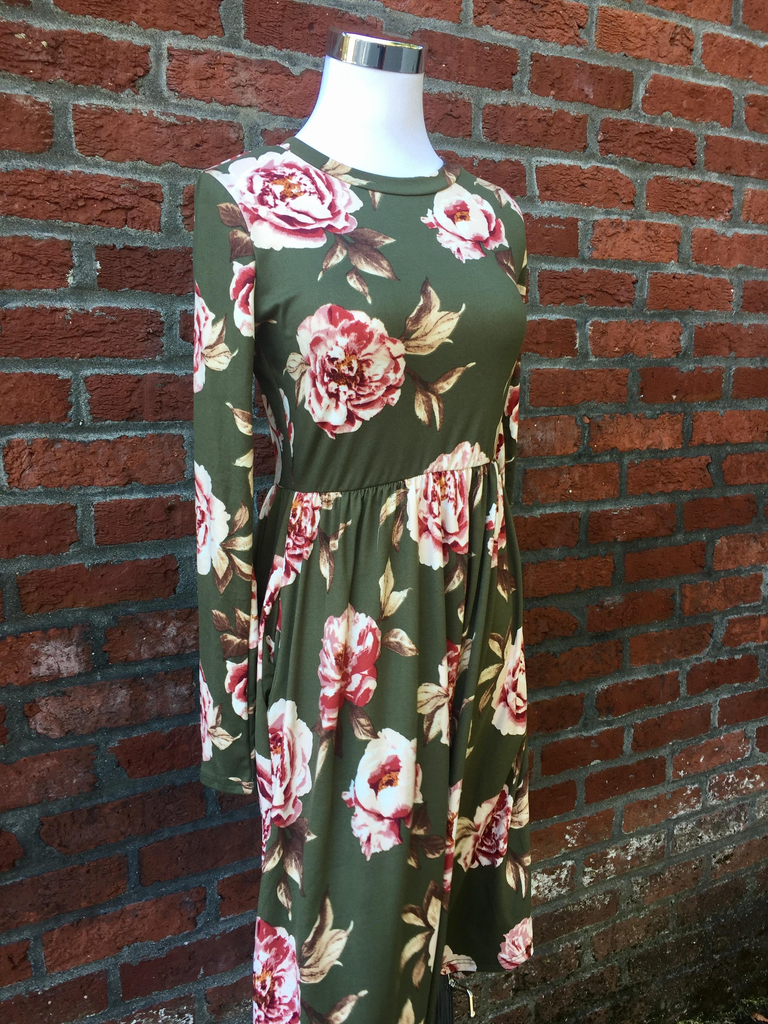 Reb & J Green Floral Dress (Also in Black, $38)