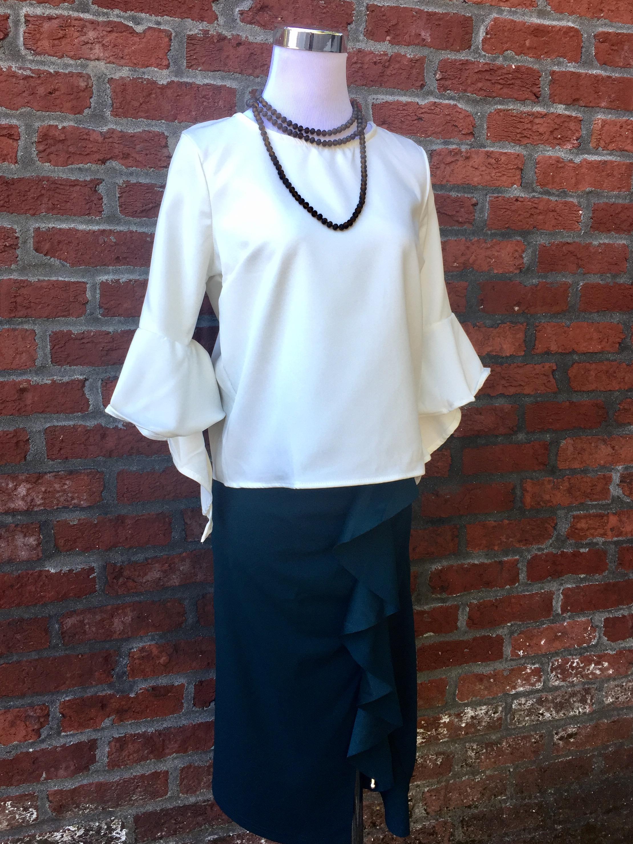 Bell Sleeve Blouse ($32) w/ Emerald Skirt ($34)