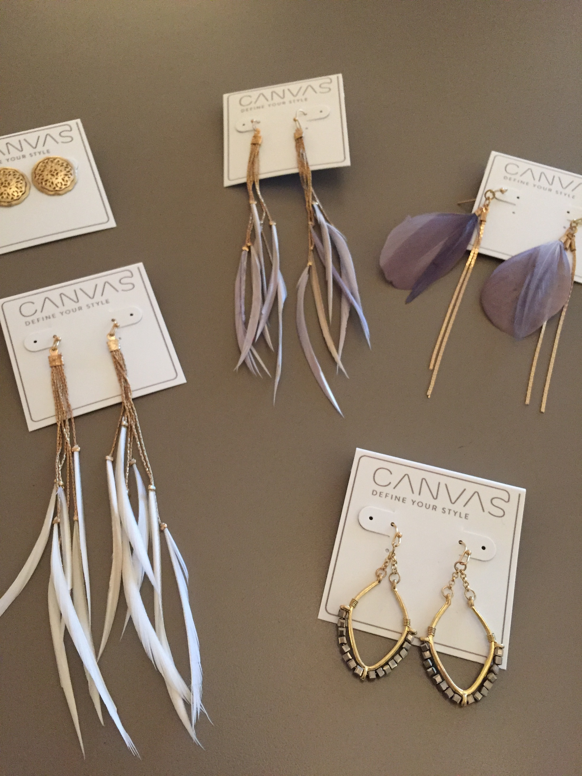 Canvas jewelry in stock (earrings and necklaces at various prices)