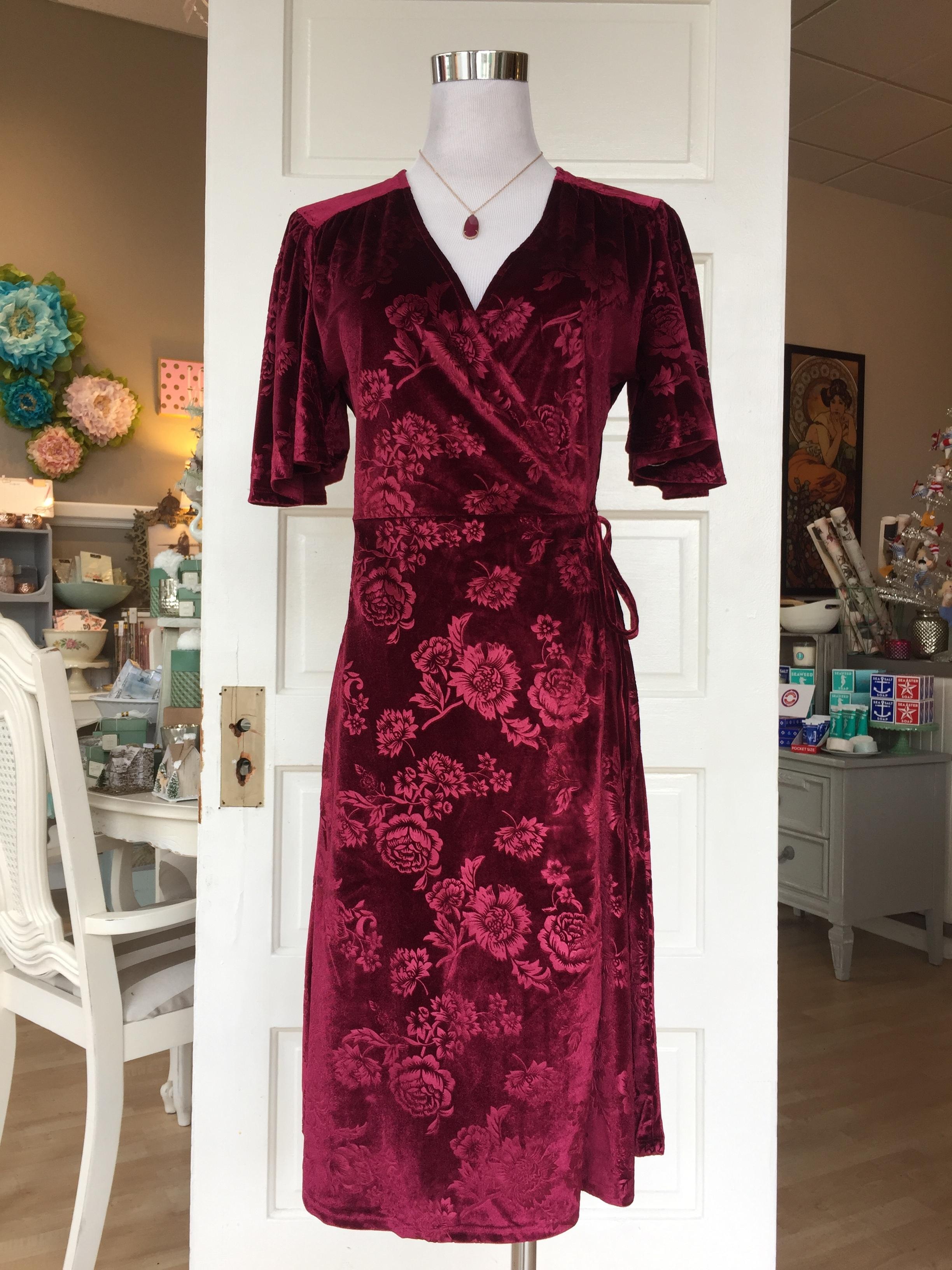 Velvet floral wrap dress ($45)