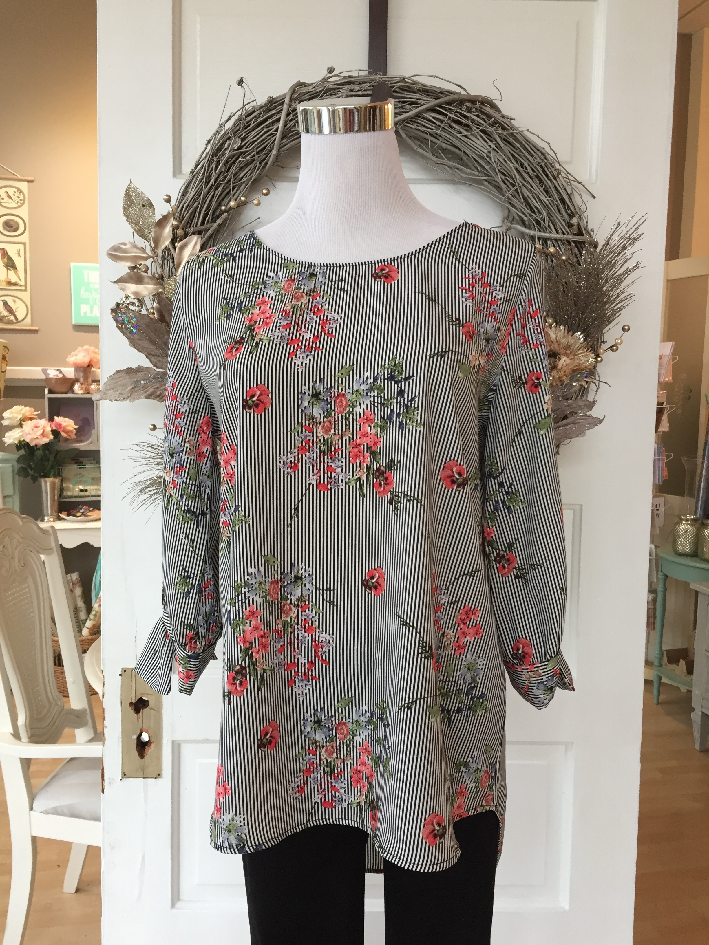 Floral and Stripe Blouse $35