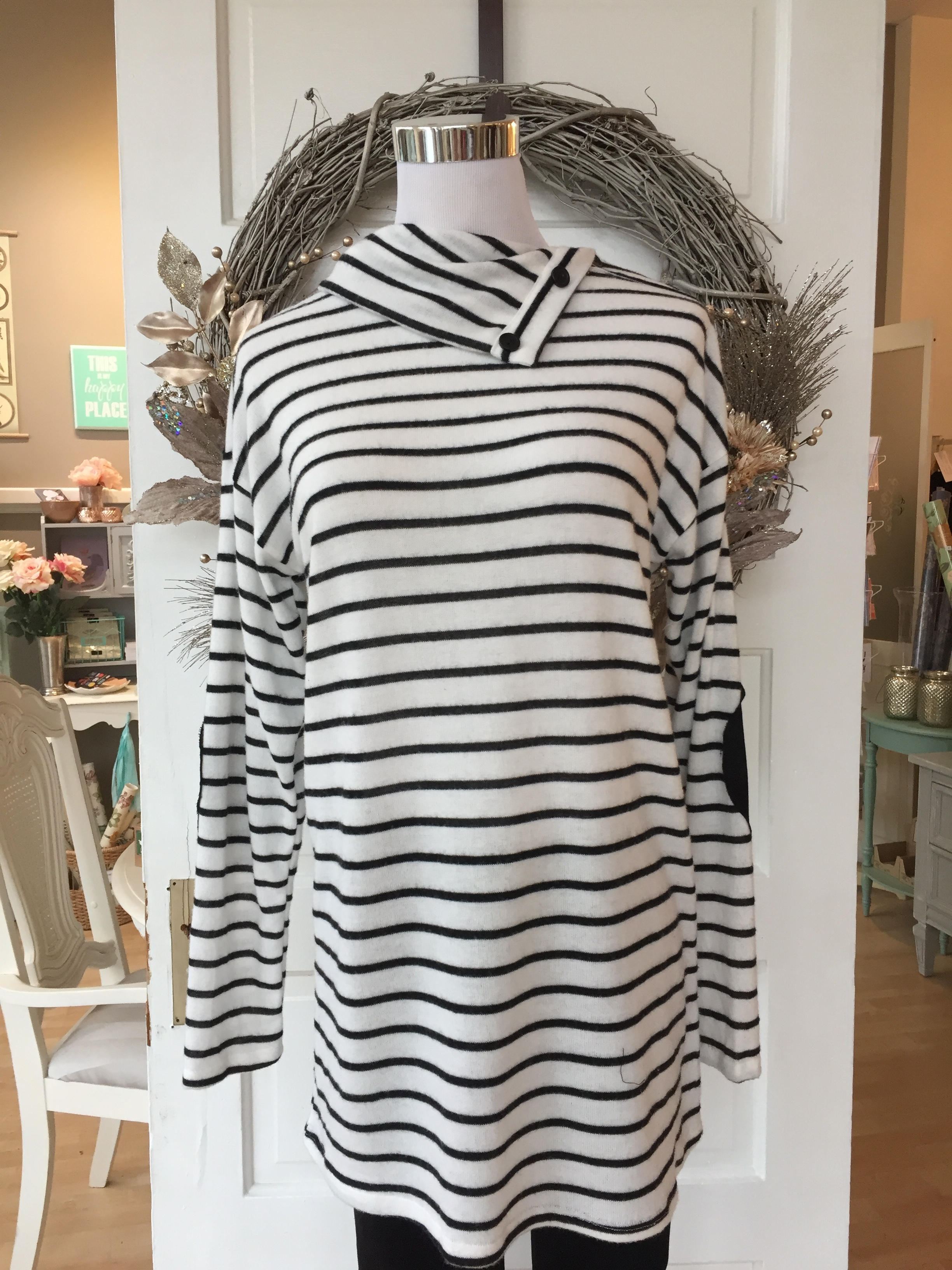 Black and White Cowl w/Buttons $42