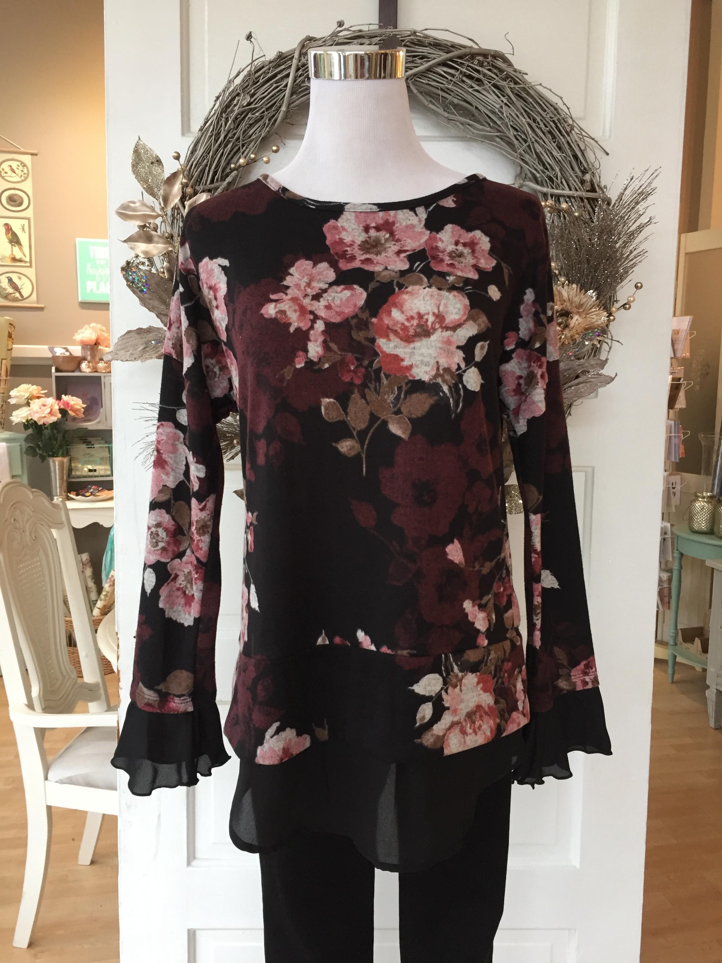 Black Floral Top $34