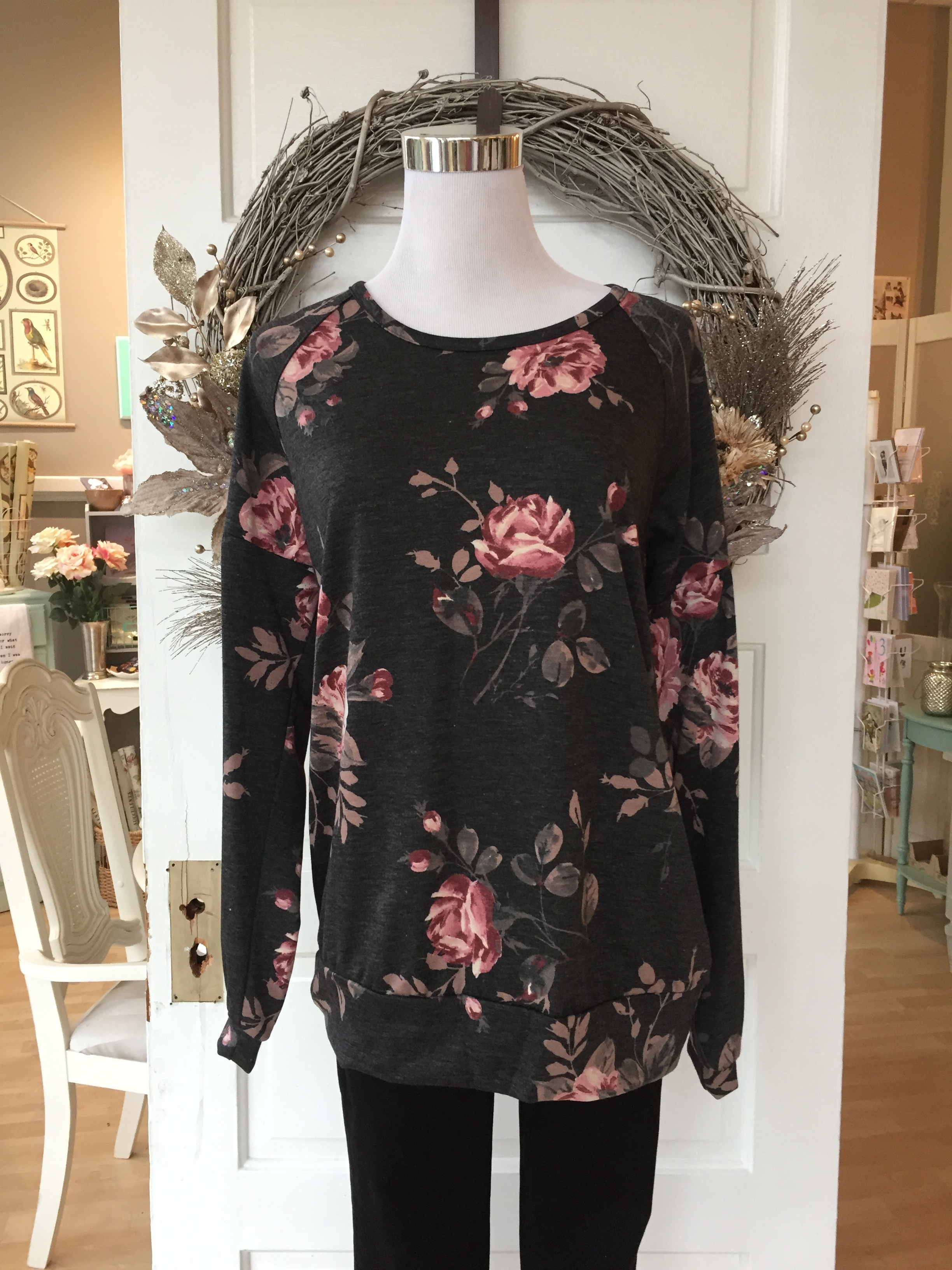 Charcoal Rose Top $35