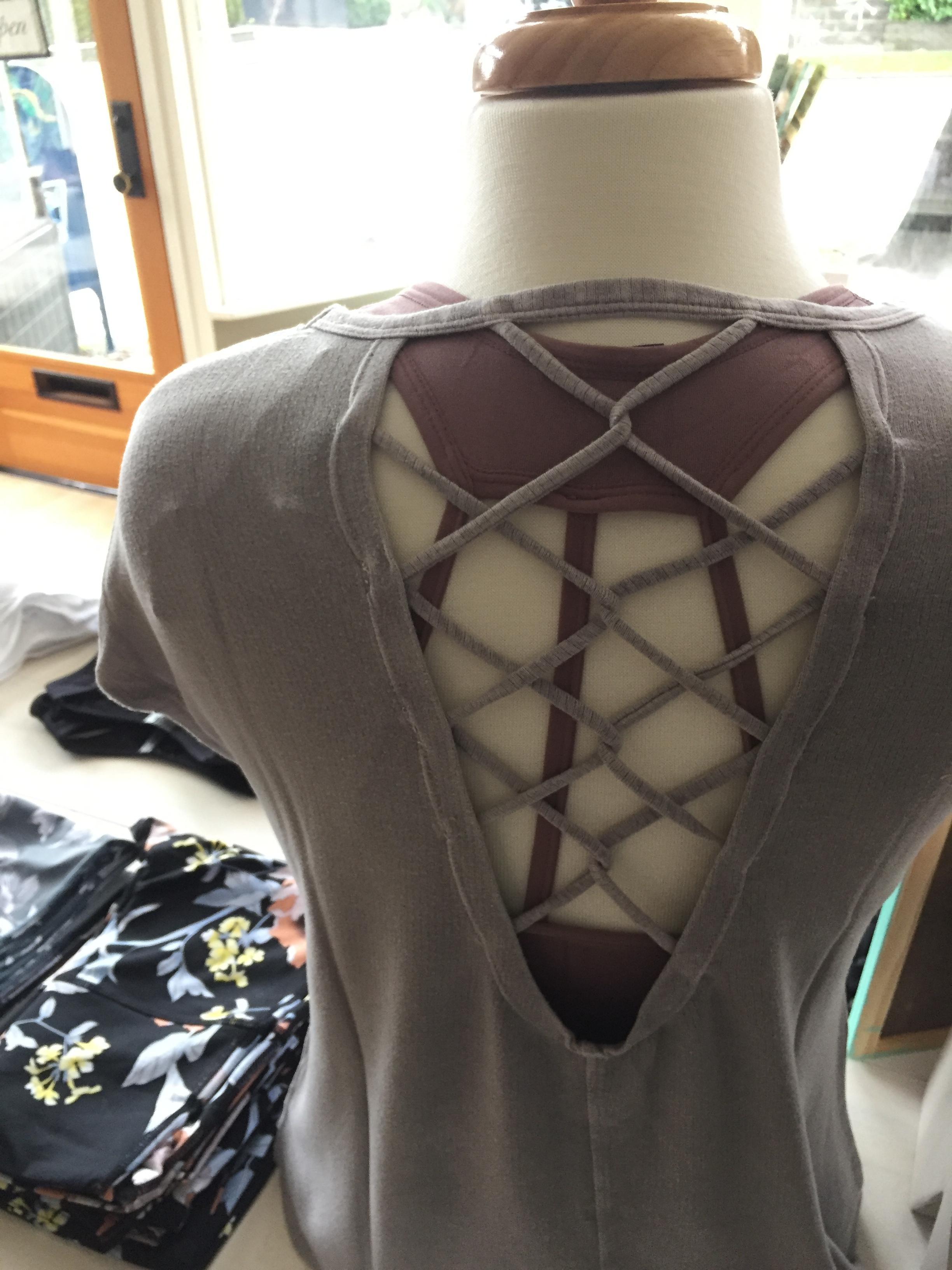 Pair a back detail tee with a fun sports bra!