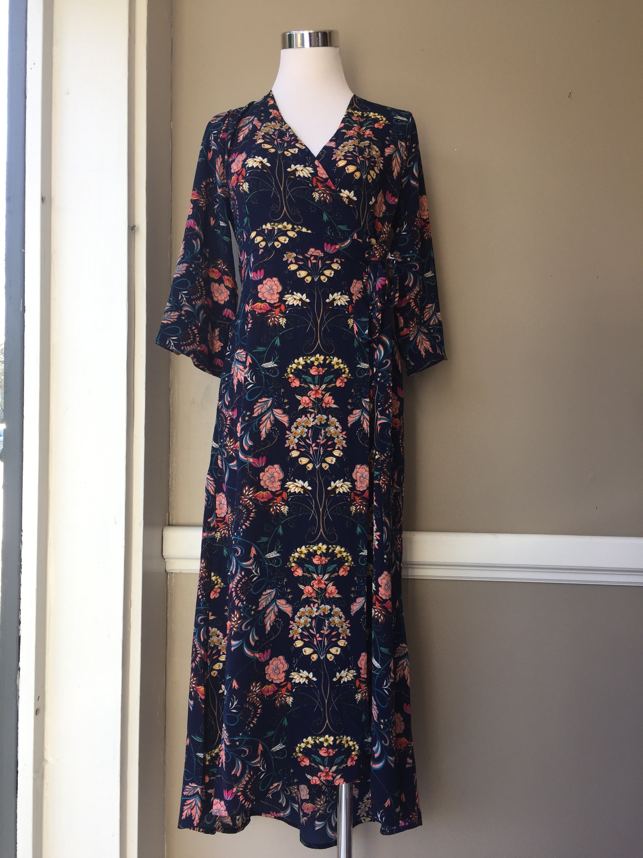 Navy Floral Maxi Dress $45