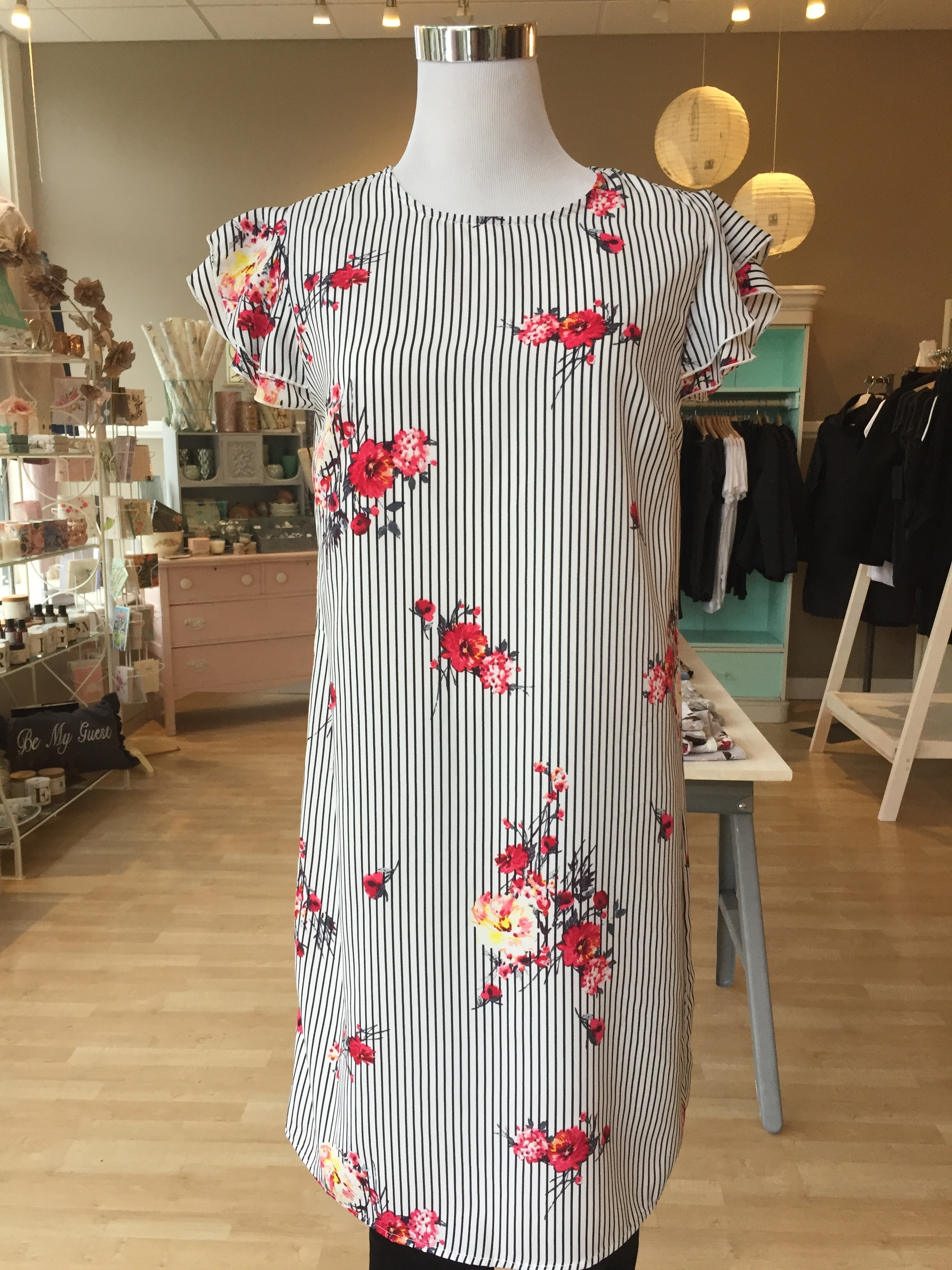 Floral and Stripe Dress $45