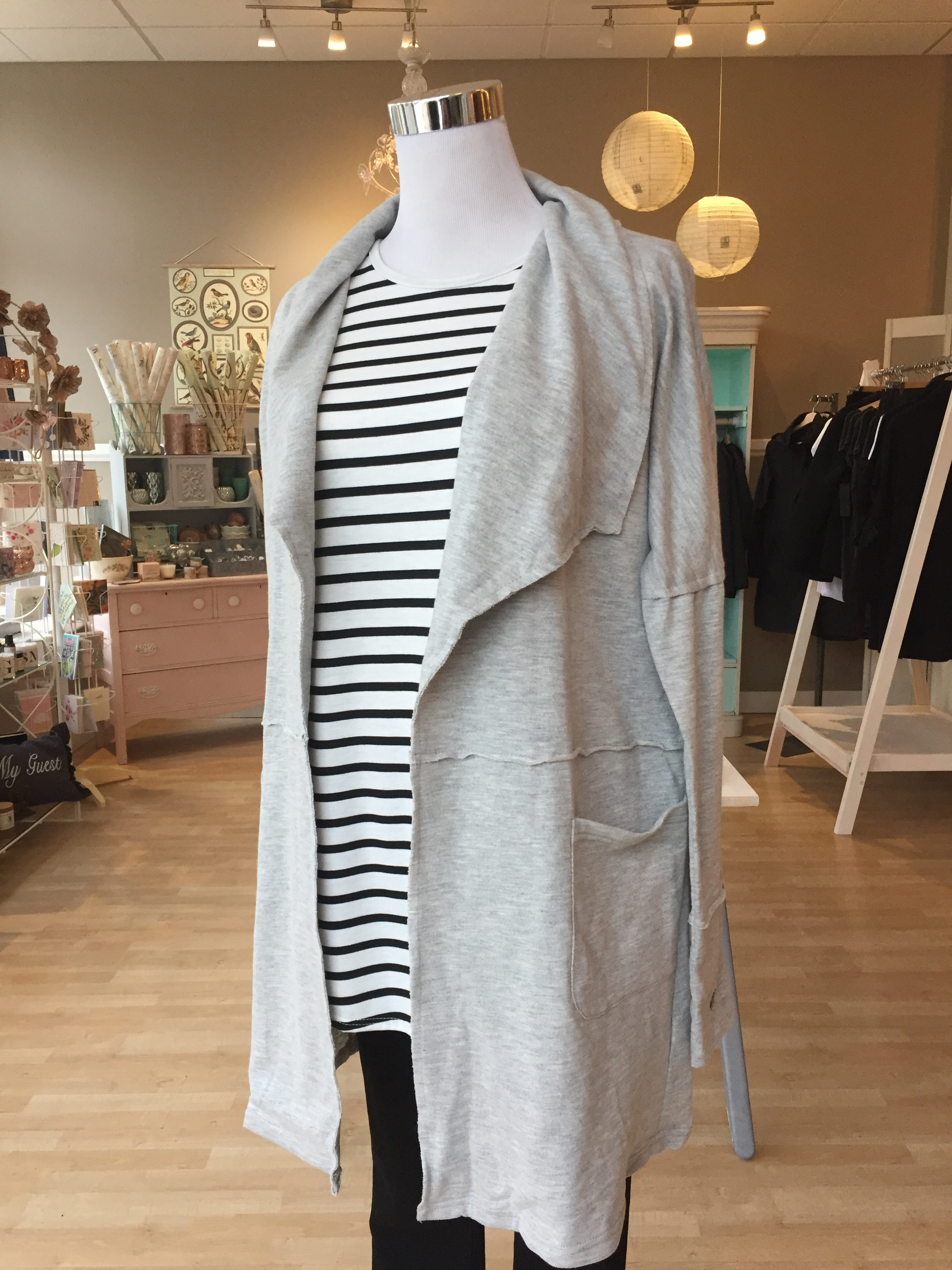 Grey Open Coat $45
