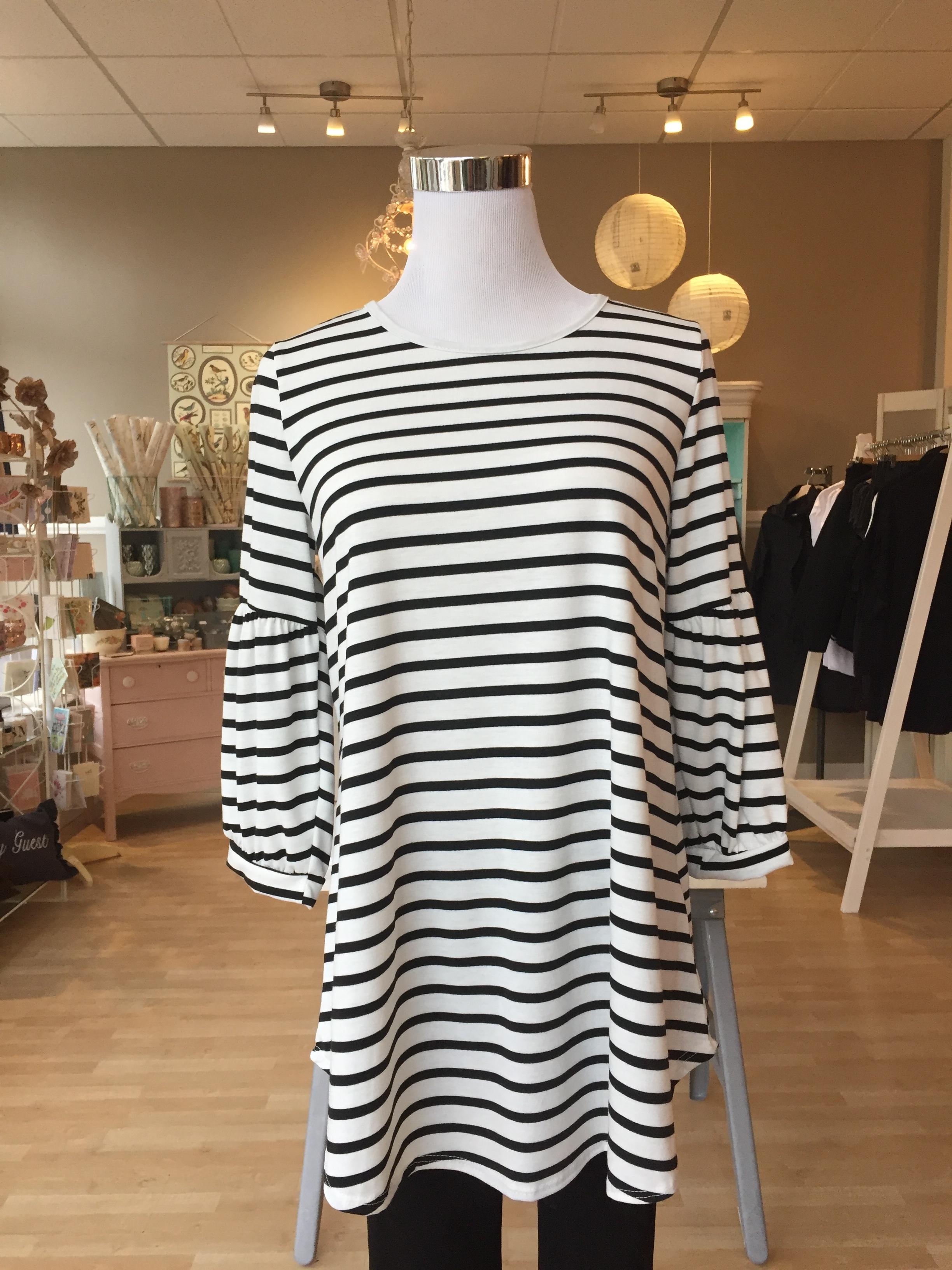 Stripe Bell Sleeve Top $38 (pink, black)