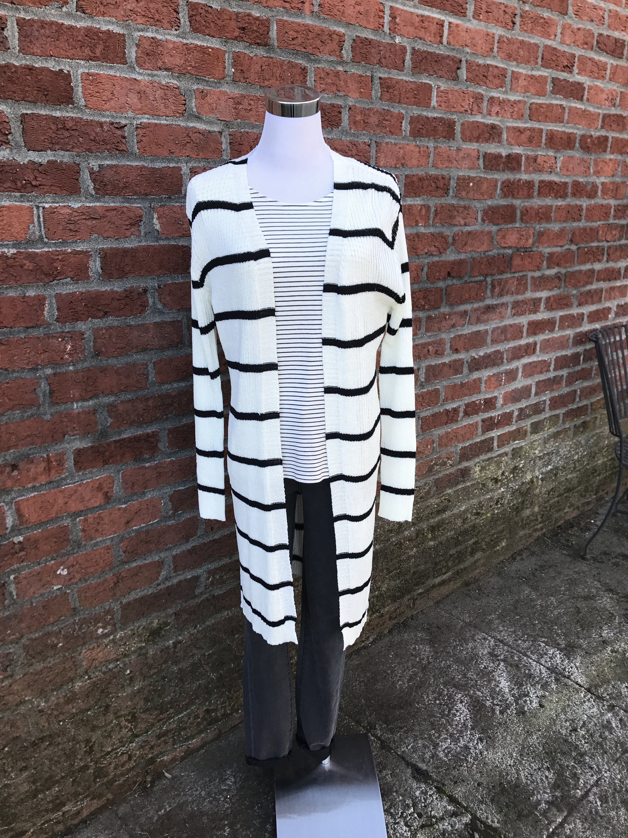 Thin striped extra long cardigan.