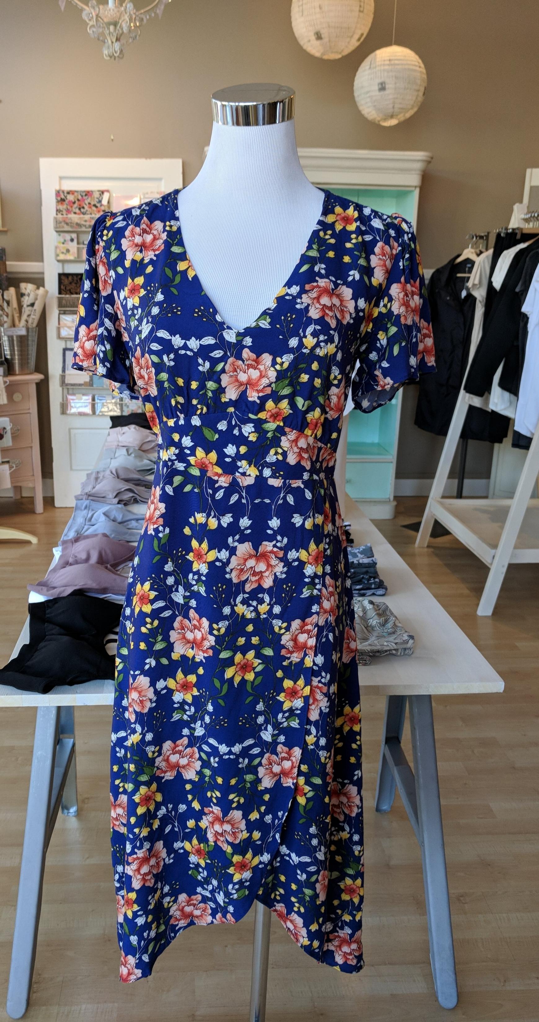 Floral faux wrap dress $62