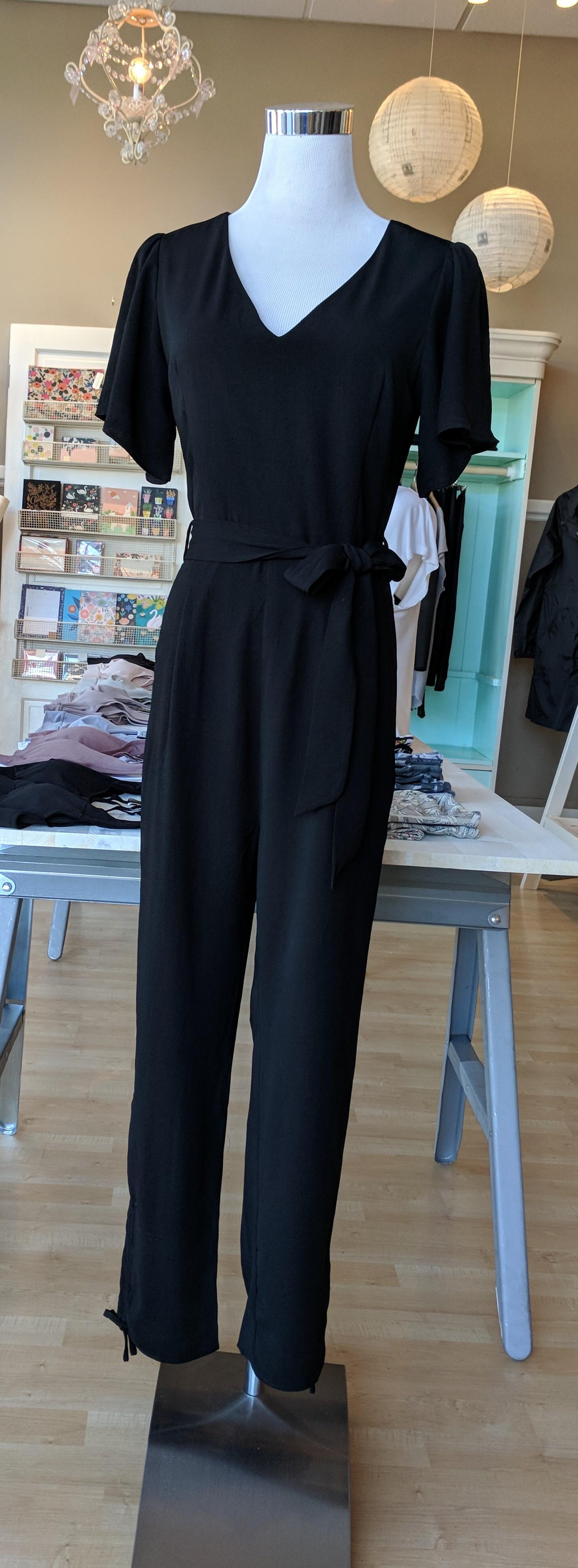 Black v-neck jumpsuit with tie $62