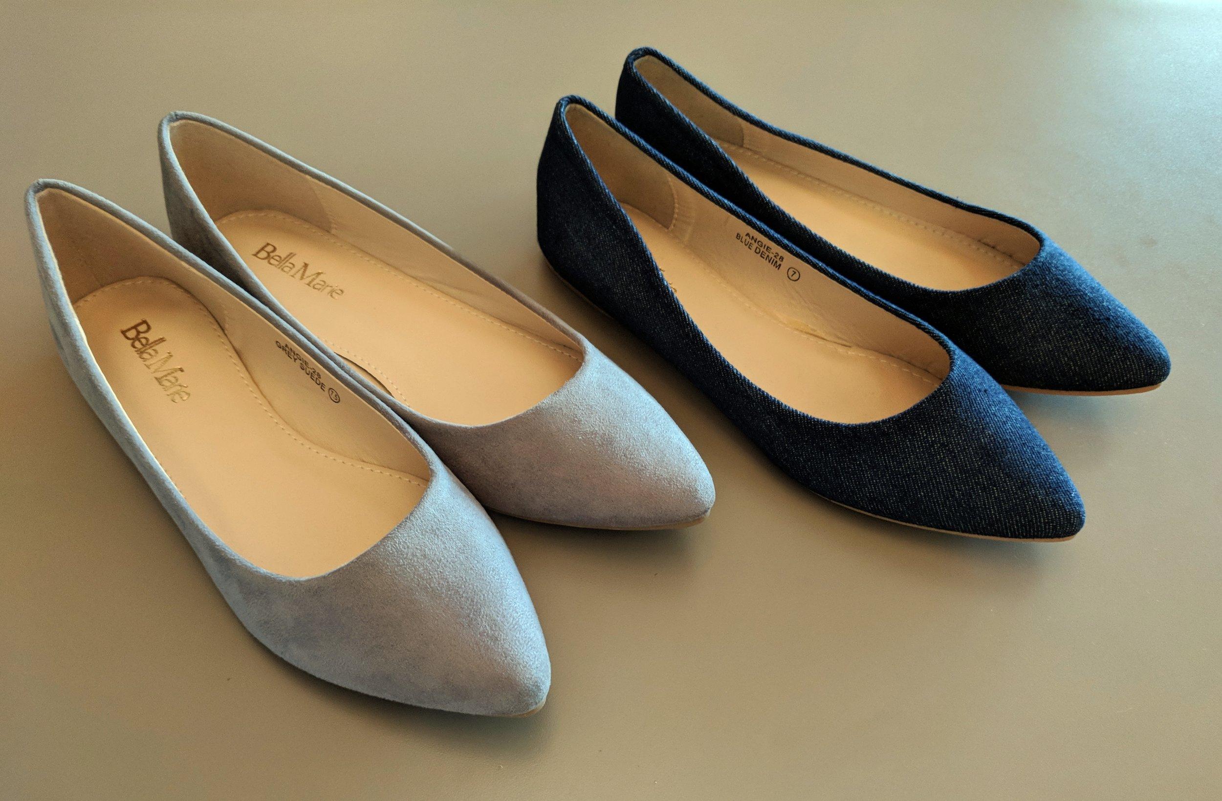 Grey and Denim Flats $28