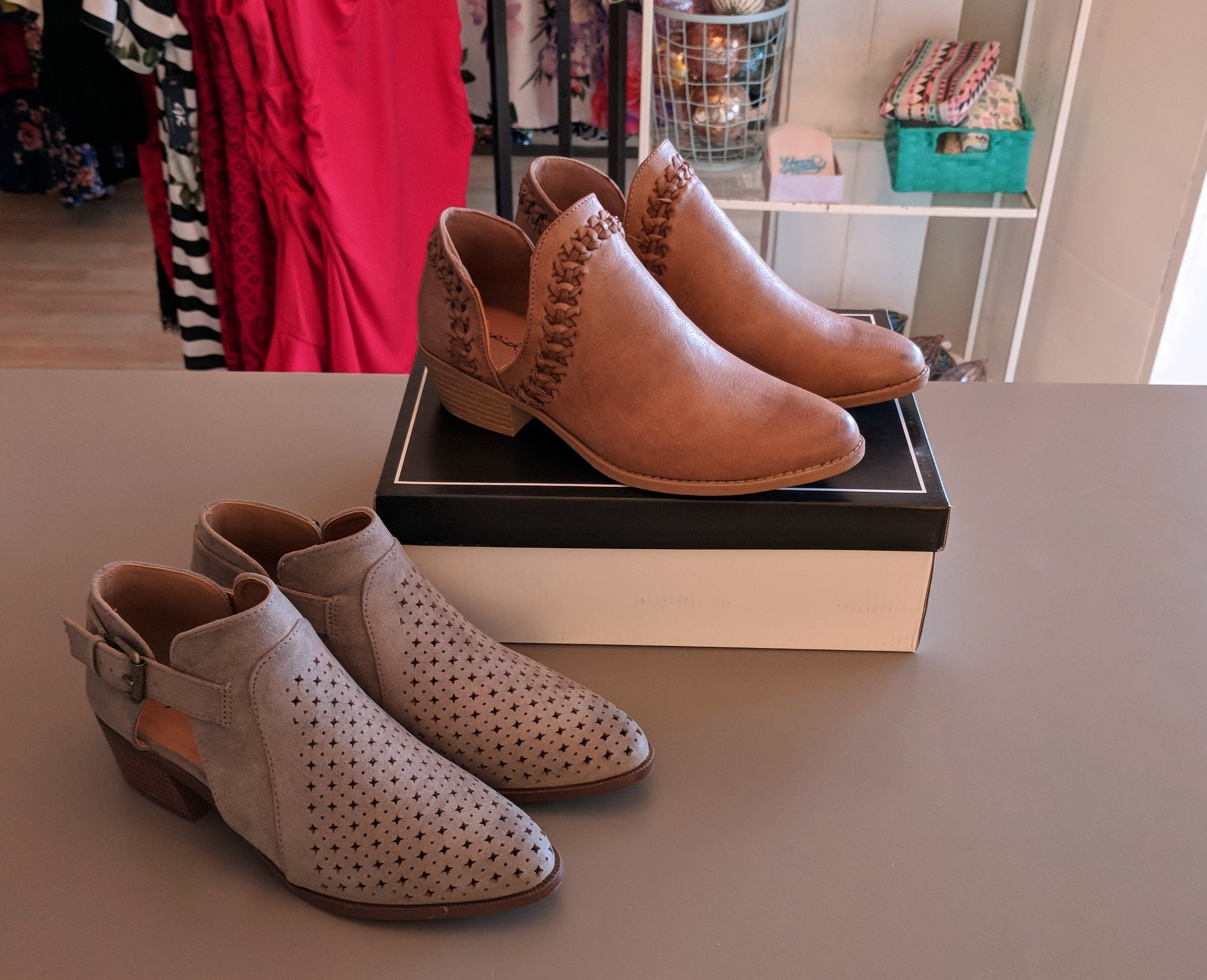 Grey Bootie $38 and Brown open side Bootie $38