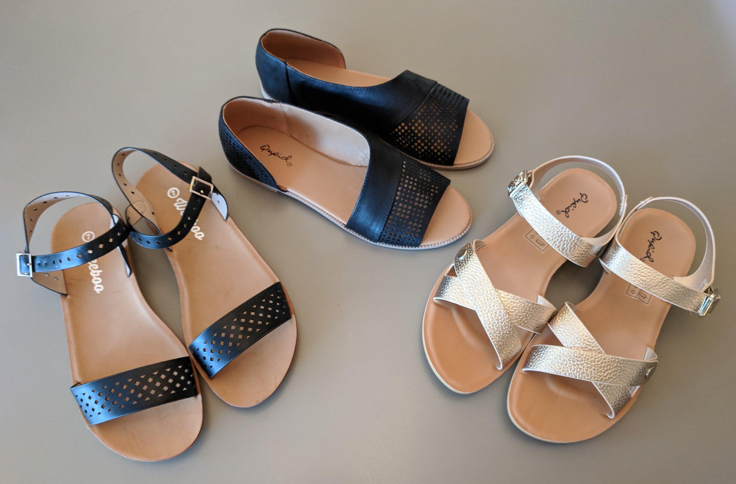 Black strap sandal $28, Black open side sandal $32 and Champagne sandal $28