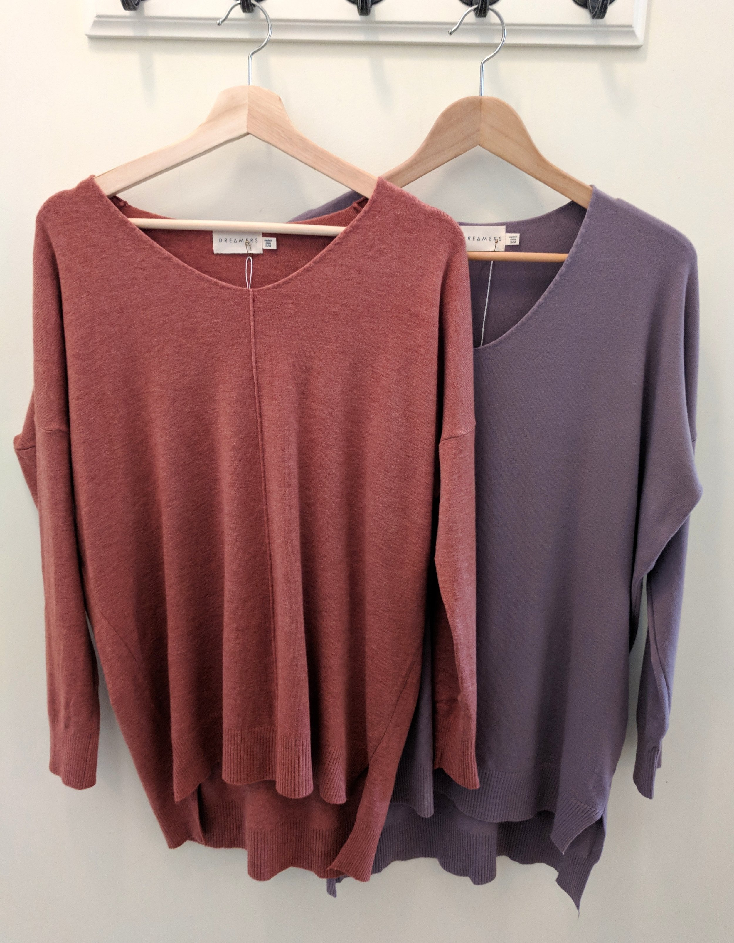 Heather Coral and Dusty Lavender Dreamer Sweater $42