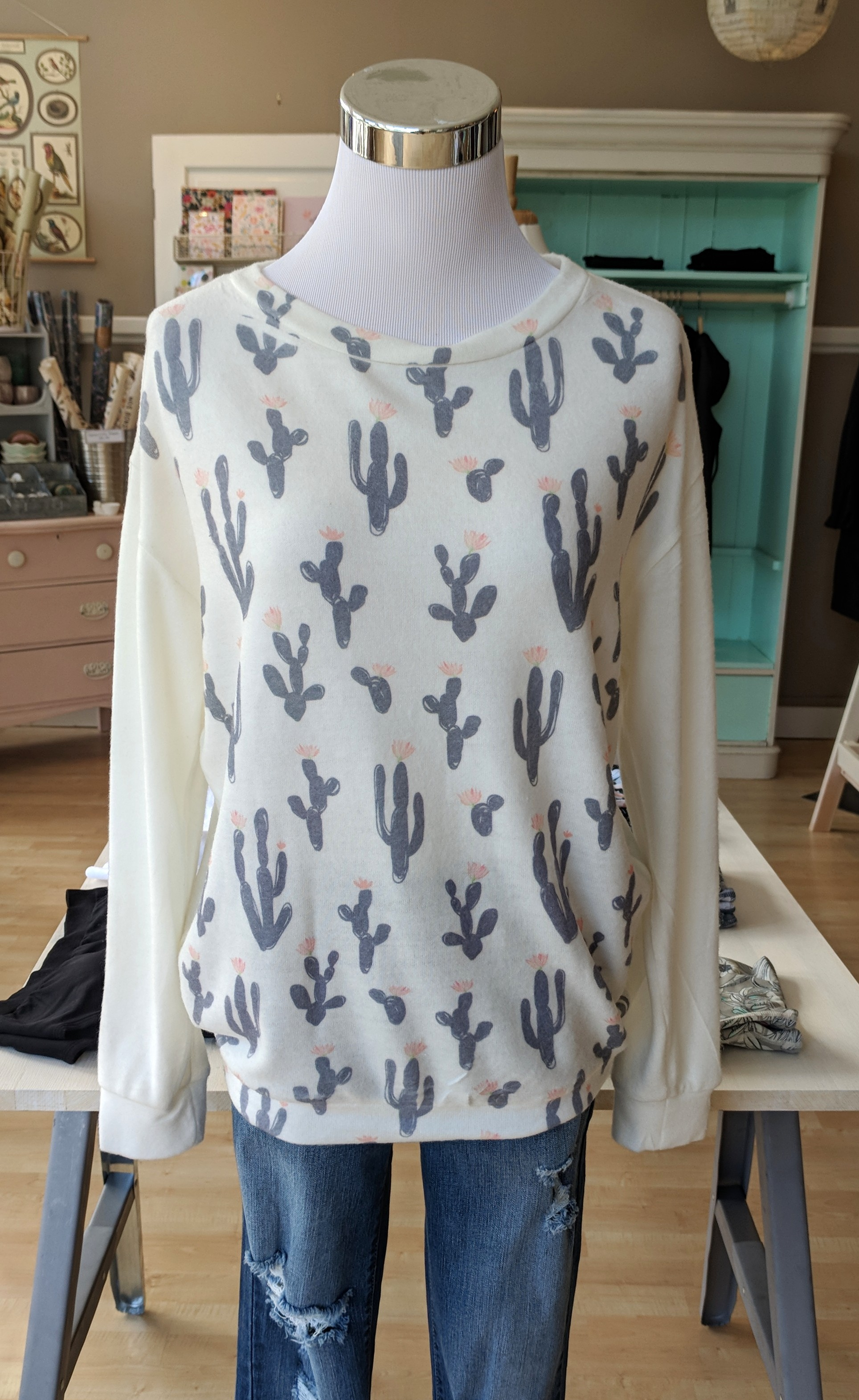All over Ivory cactus print sweater $34