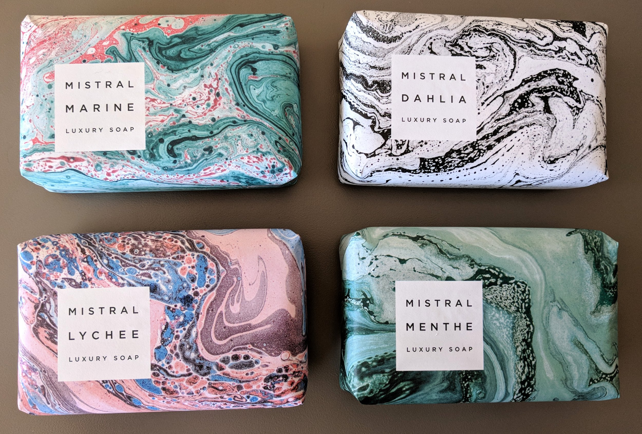 Mistral Luxury Soap Mint, Marine, Lychee Rose and Dahlia