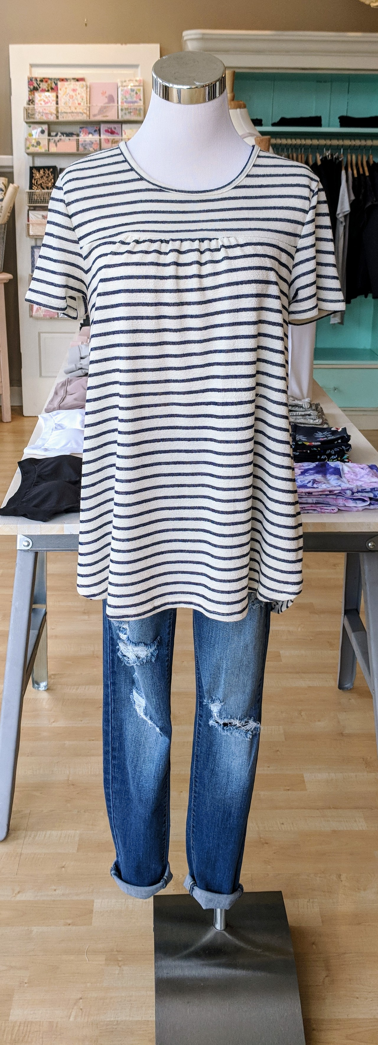 Navy and white stripe top $32