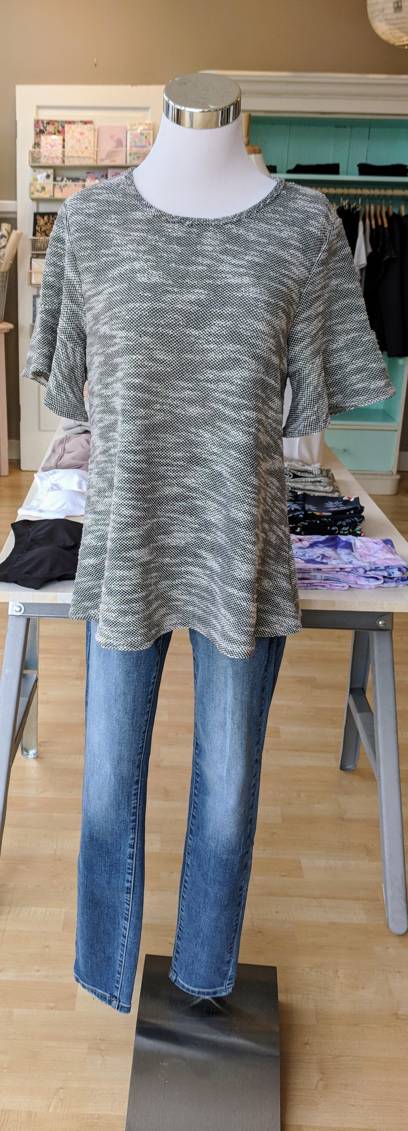 Charcoal and white bell sleeve top $32