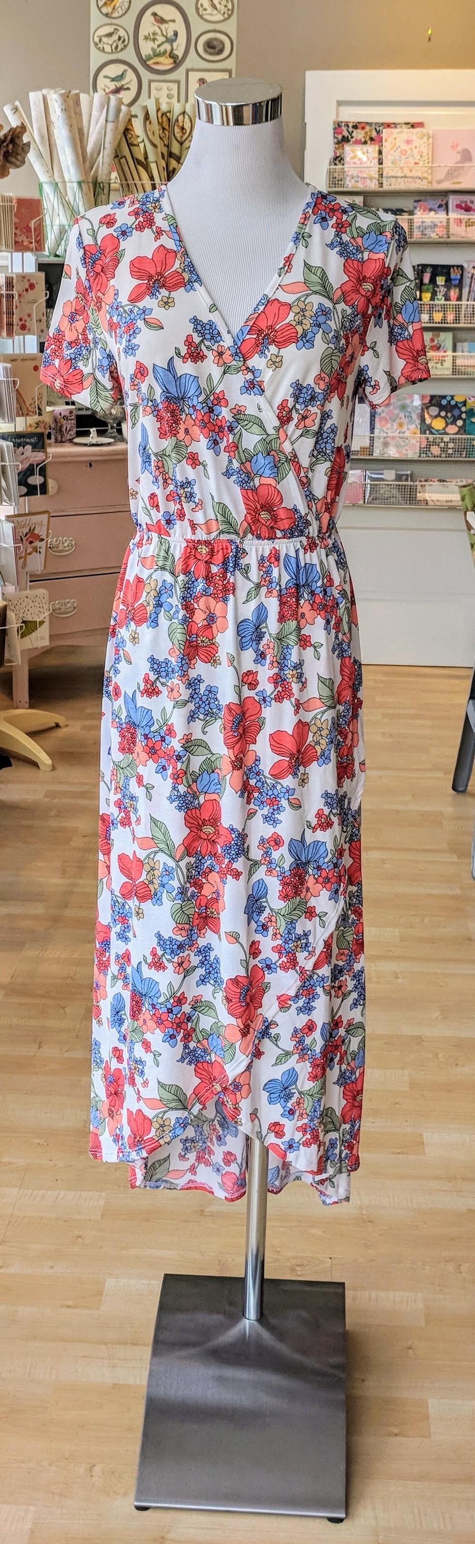 White floral midi layer dress $38