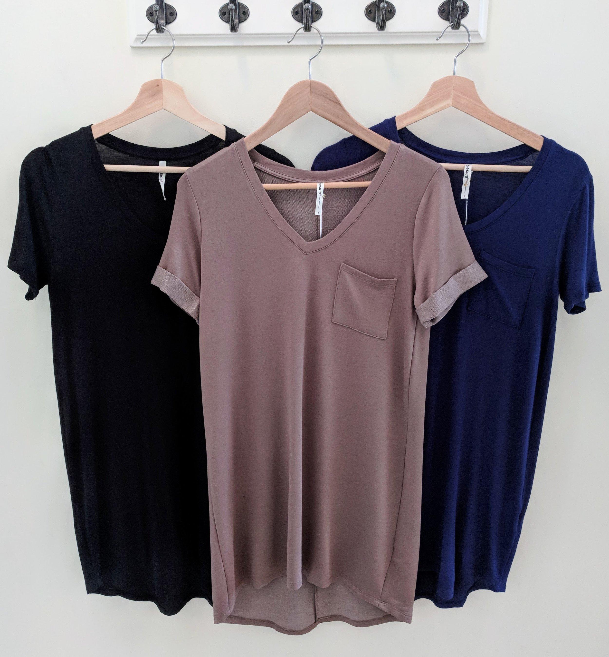 Short Sleeve V-neck Dress Back, Navy and Brown
