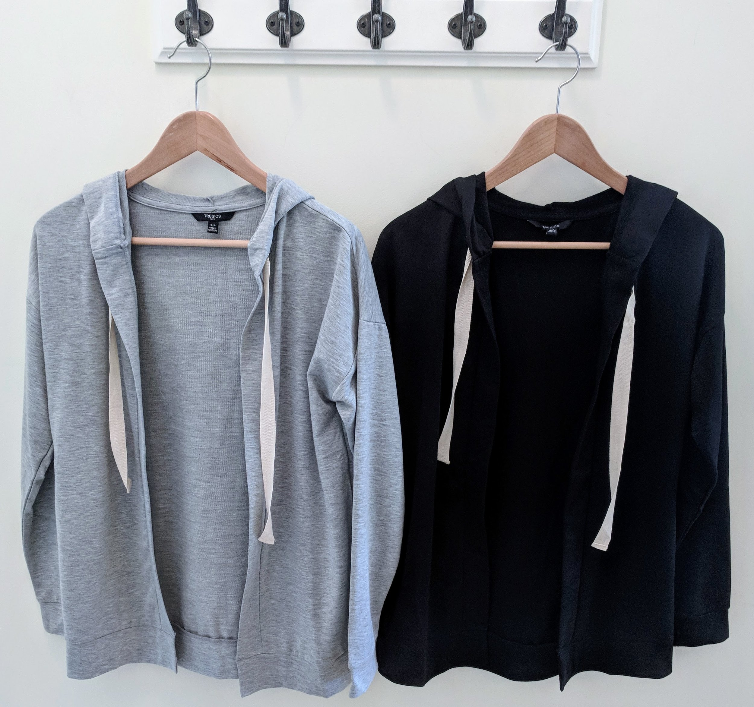 Grey and Black Long Sleeve Cardigan with Hood and Pockets