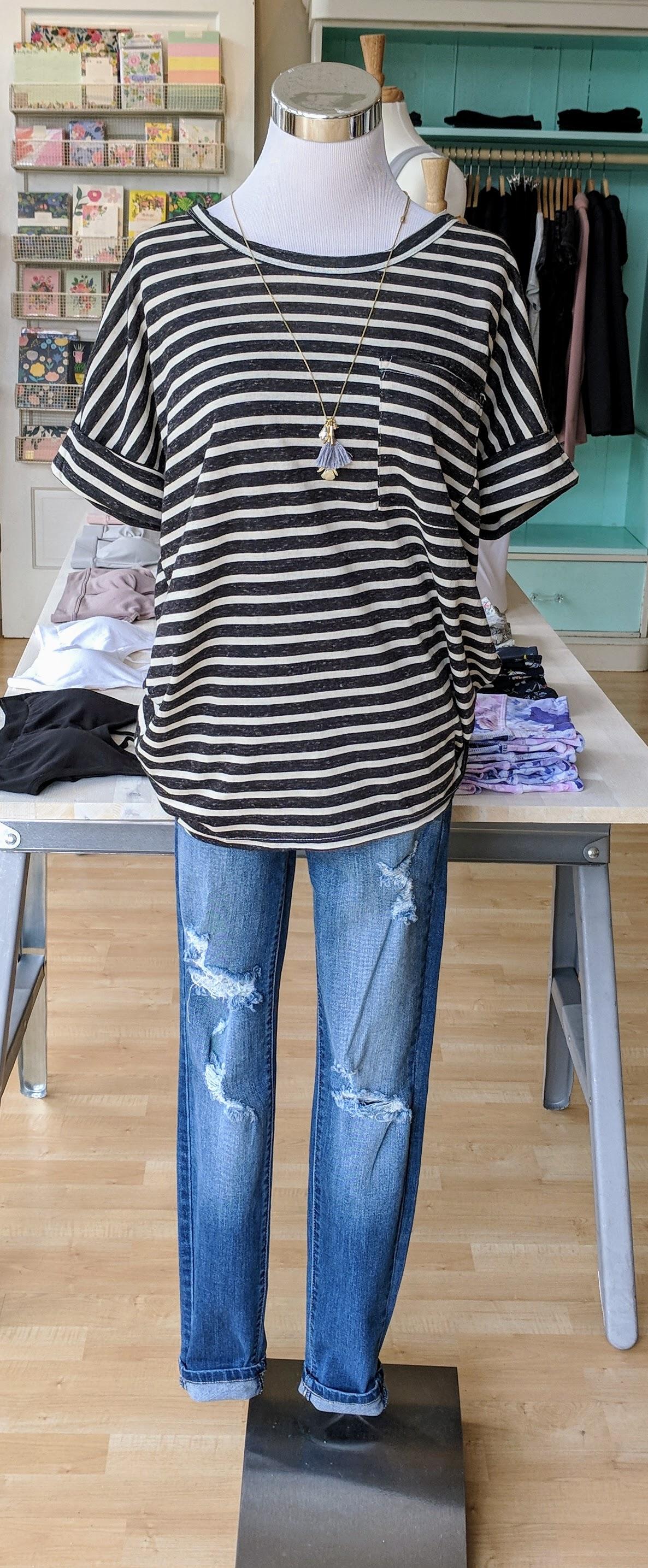 Basic Striped top w/ Chest Pocket, Black