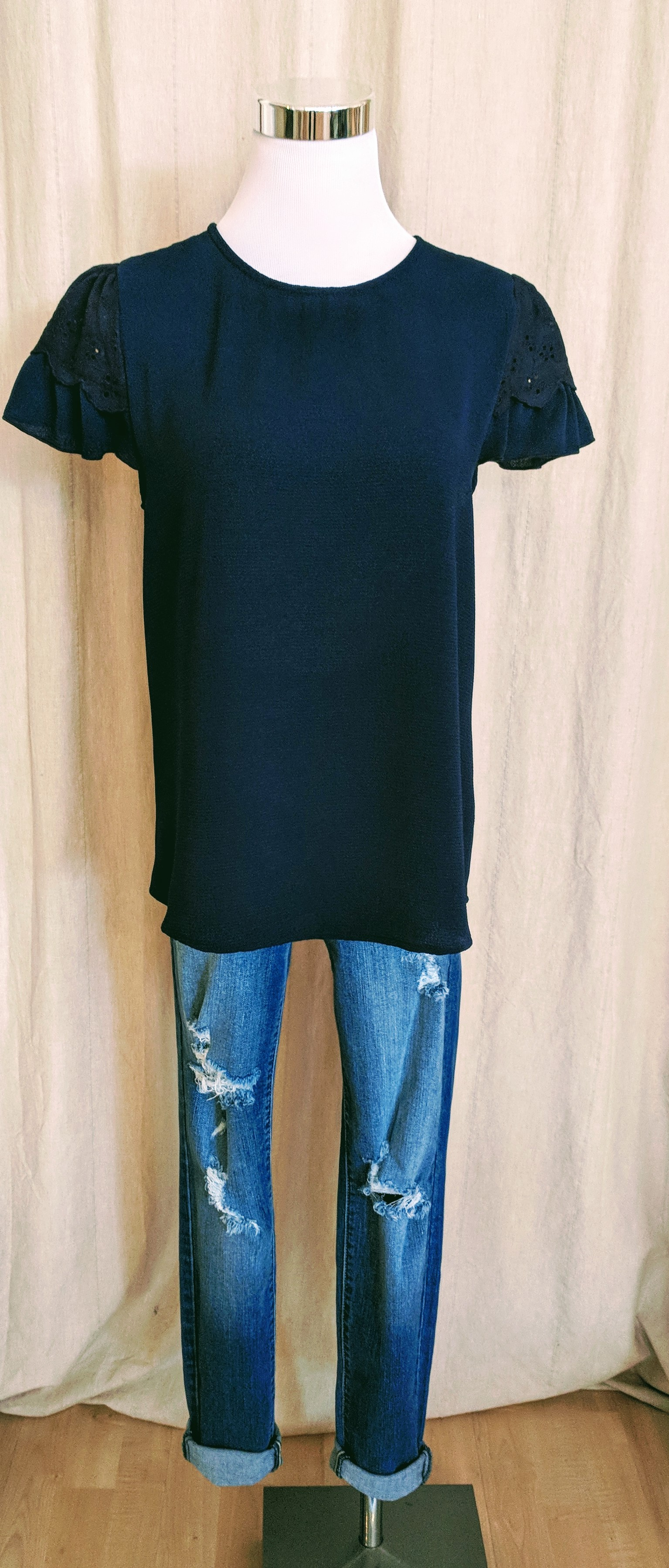 Navy short sleeve with Lace detail on shoulder $28