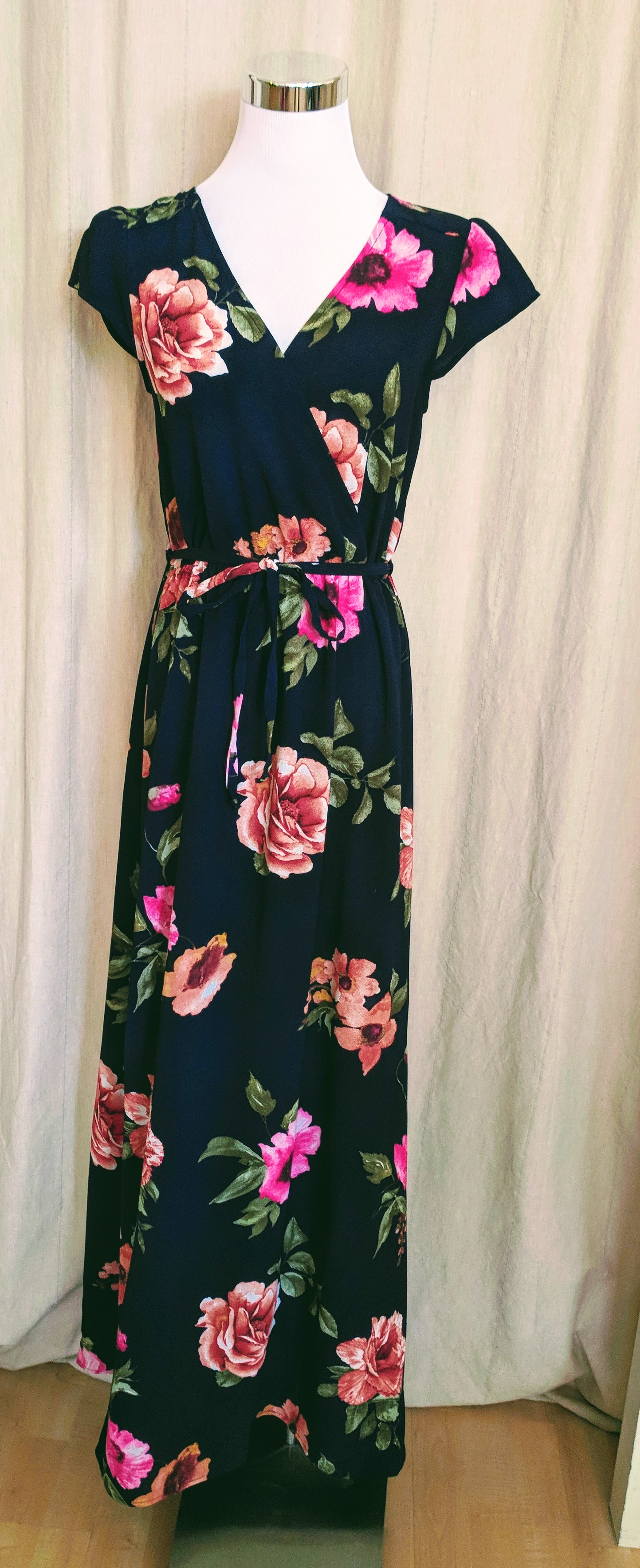 Navy Maxi faux wrap dress with cap sleeves. $54