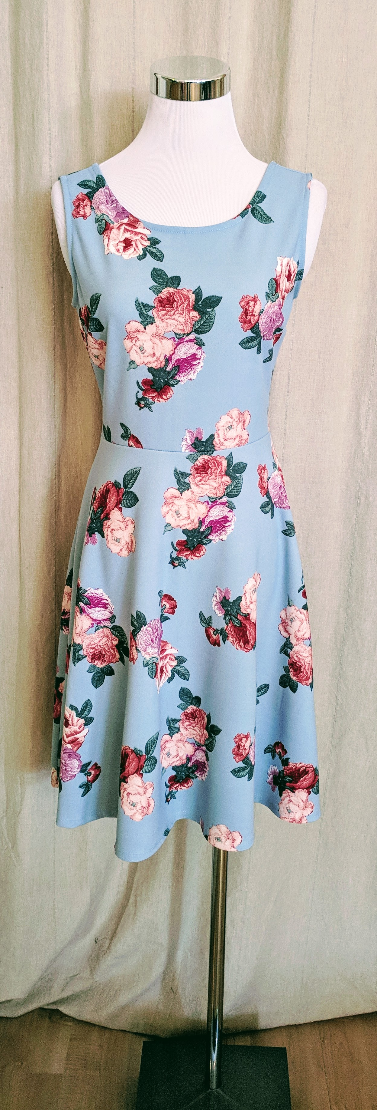 Mint A-line floral tank dress. $38