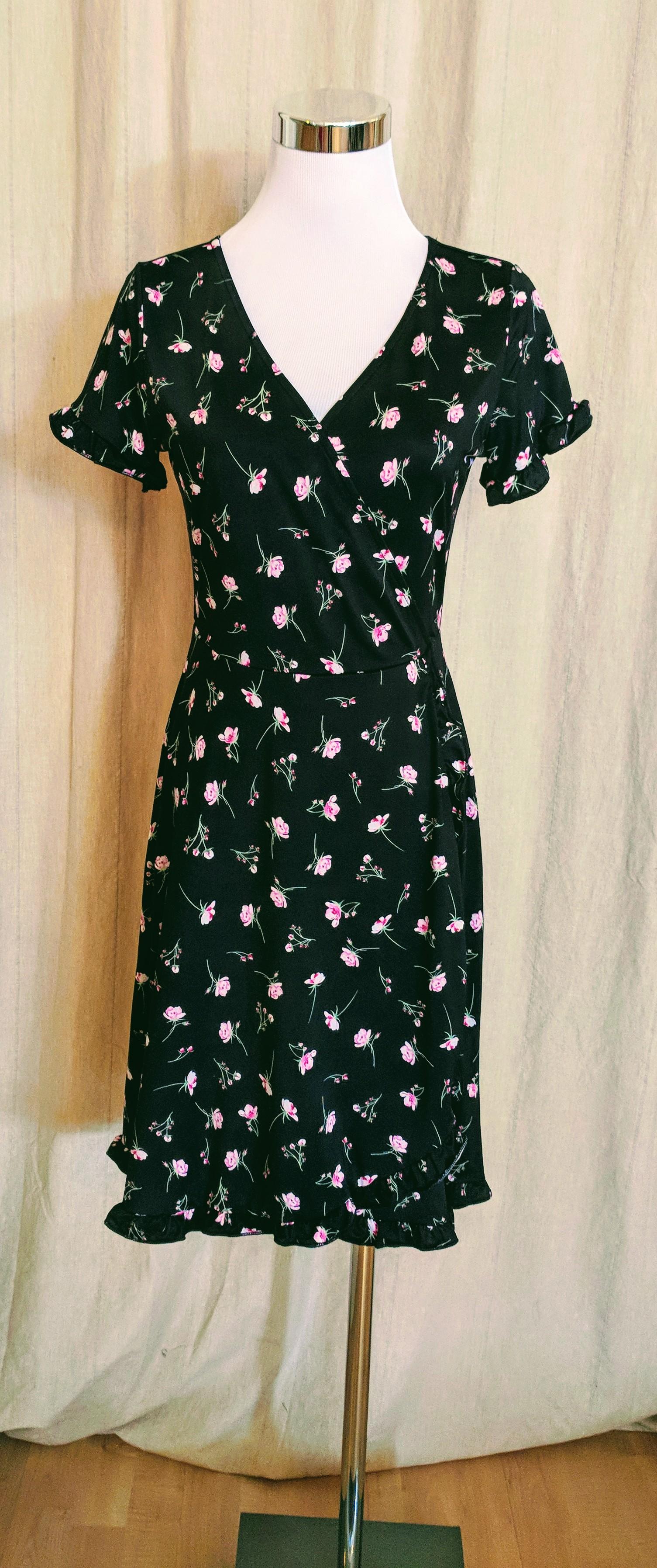 Black and pink floral shift dress $48