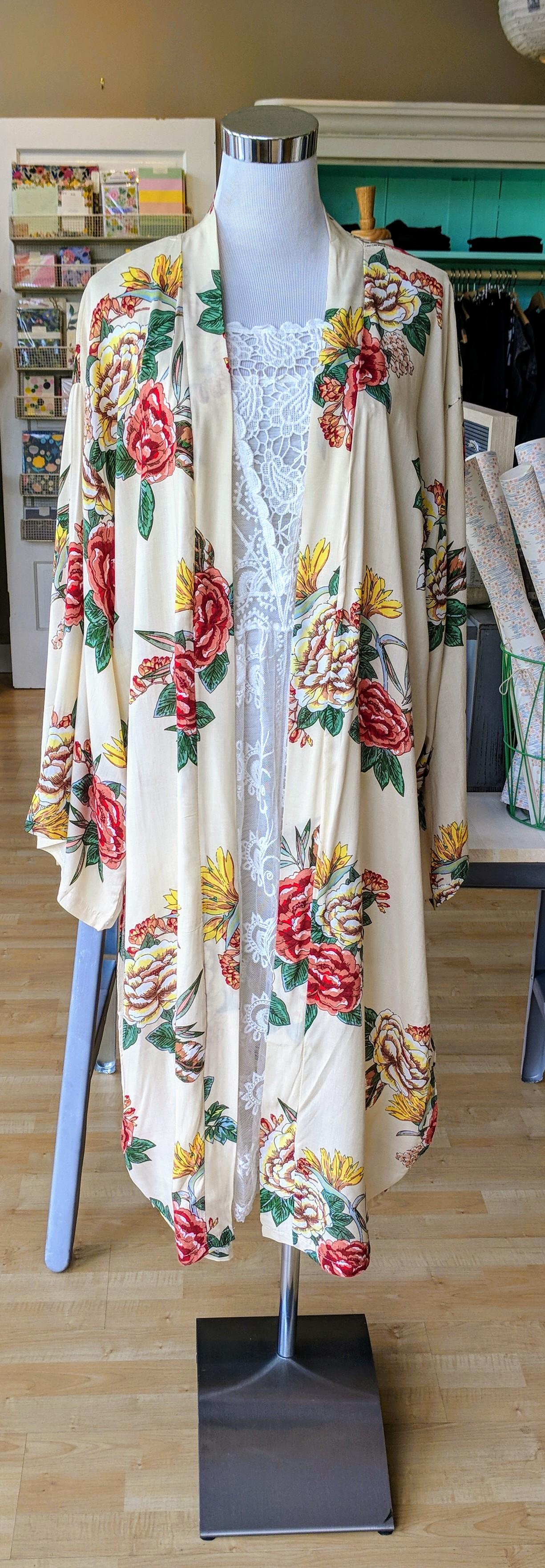 Long Cream floral Kimono $32