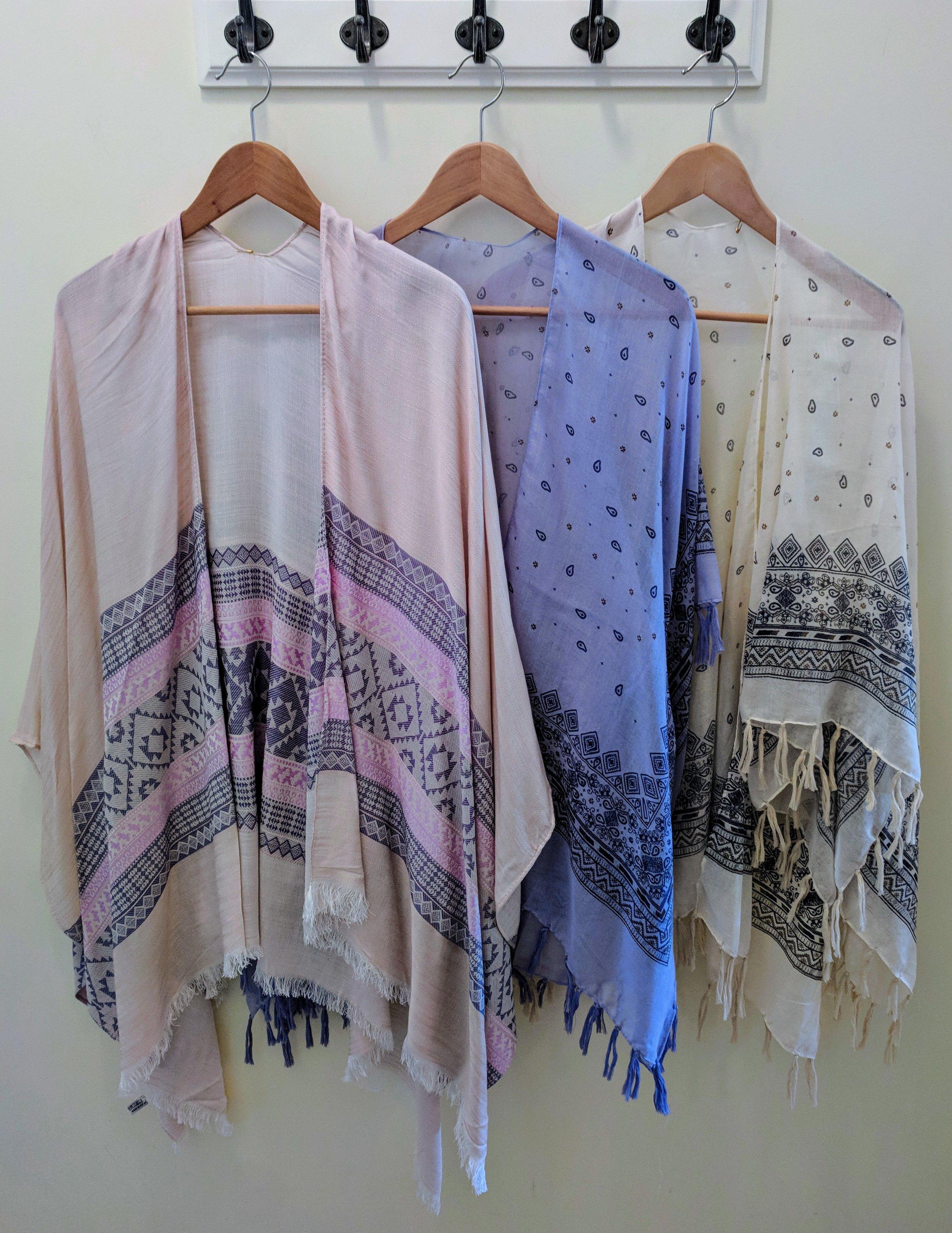 Lavender Woven Moroccan Kimono $24 Periwinkle and Ivory Kimono with tassels $21