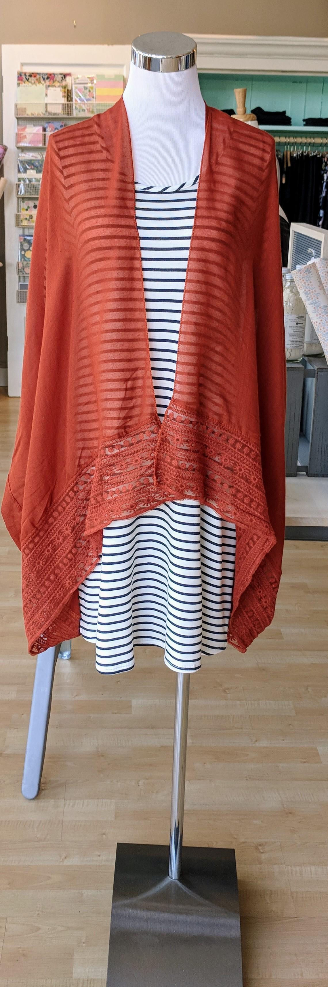 Rust color Kimono with Lace border trim $18
