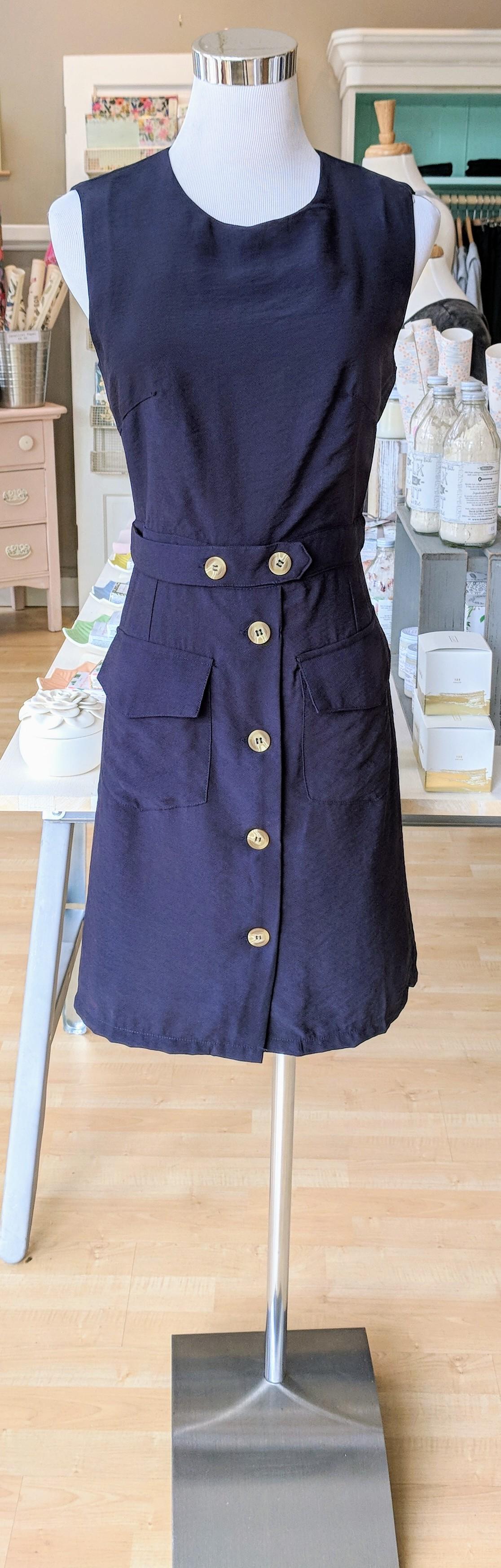 Navy mini dress with pockets.