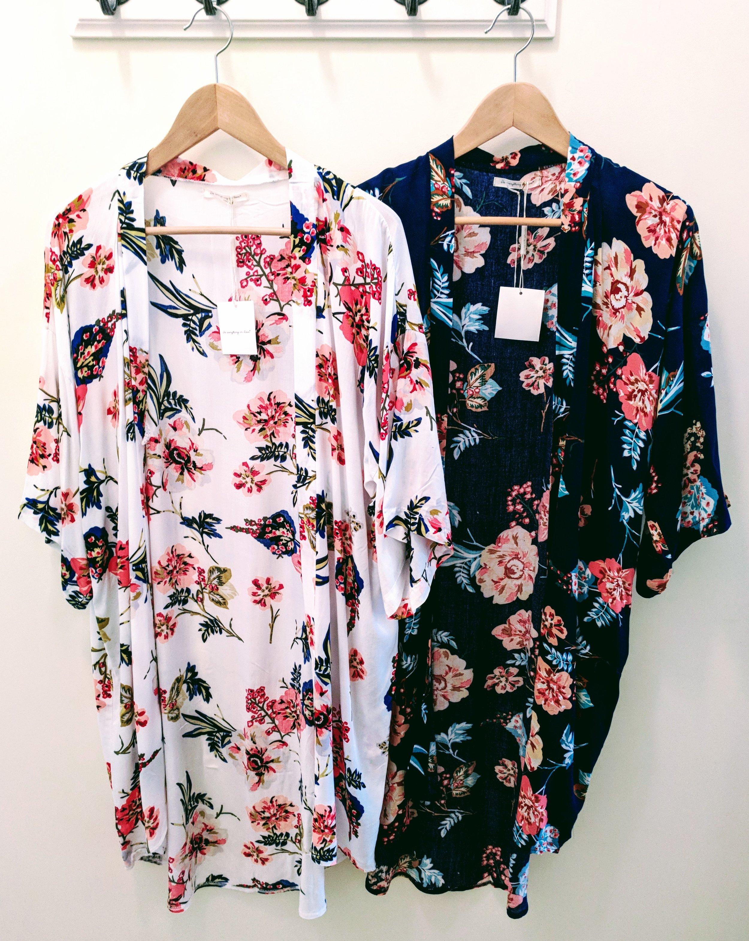 White and Navy floral print long kimono.