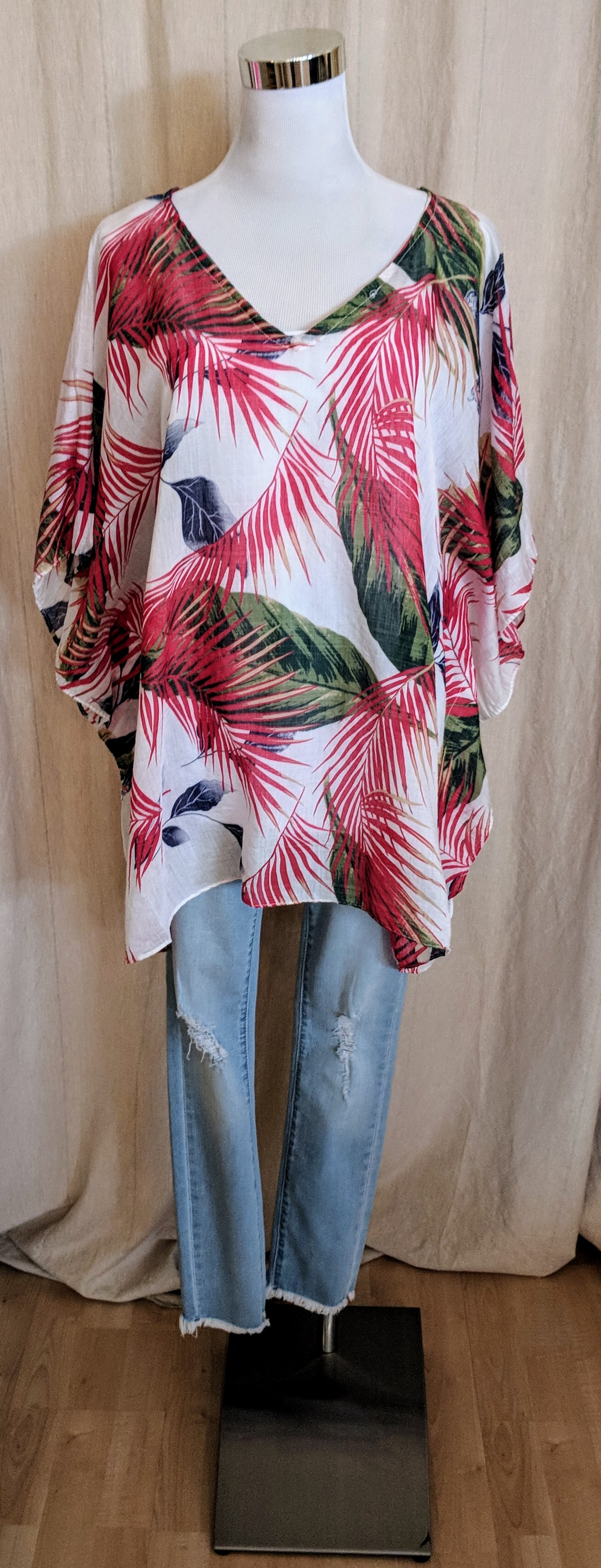 Red tropical pattern cover.