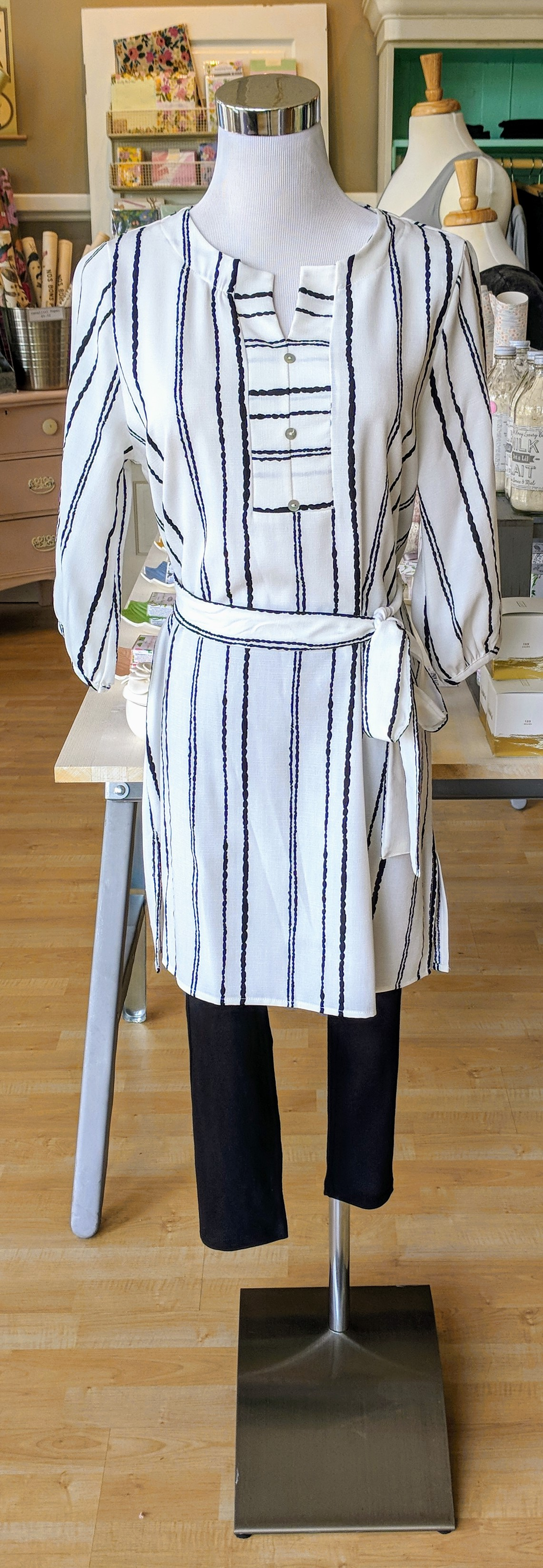 Black and Ivory stripe tunic top.