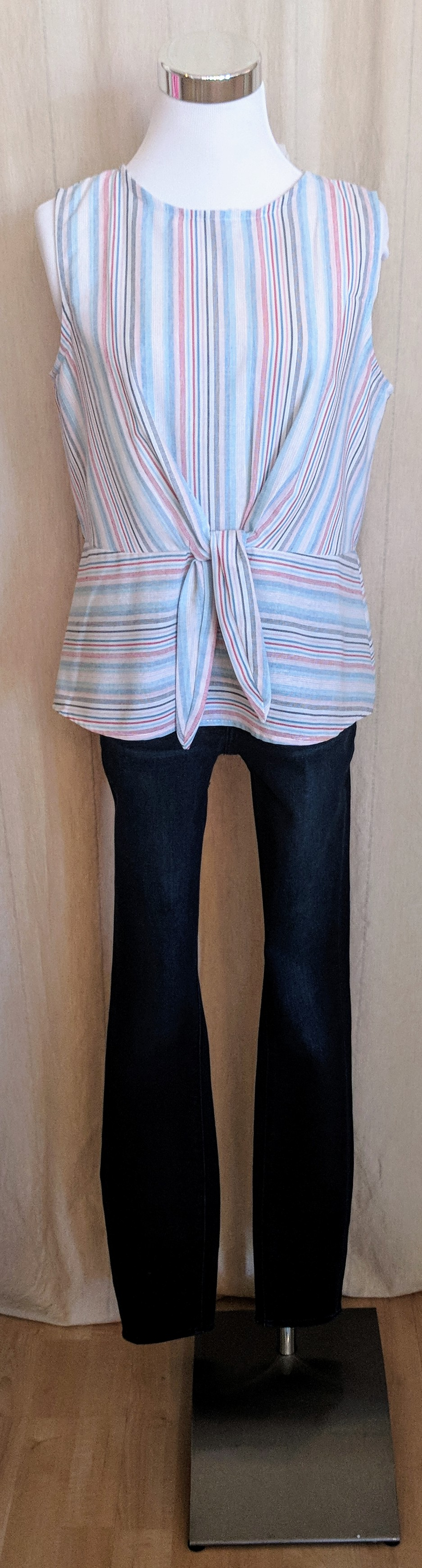 Red and blue stripe tank top with tie detail.