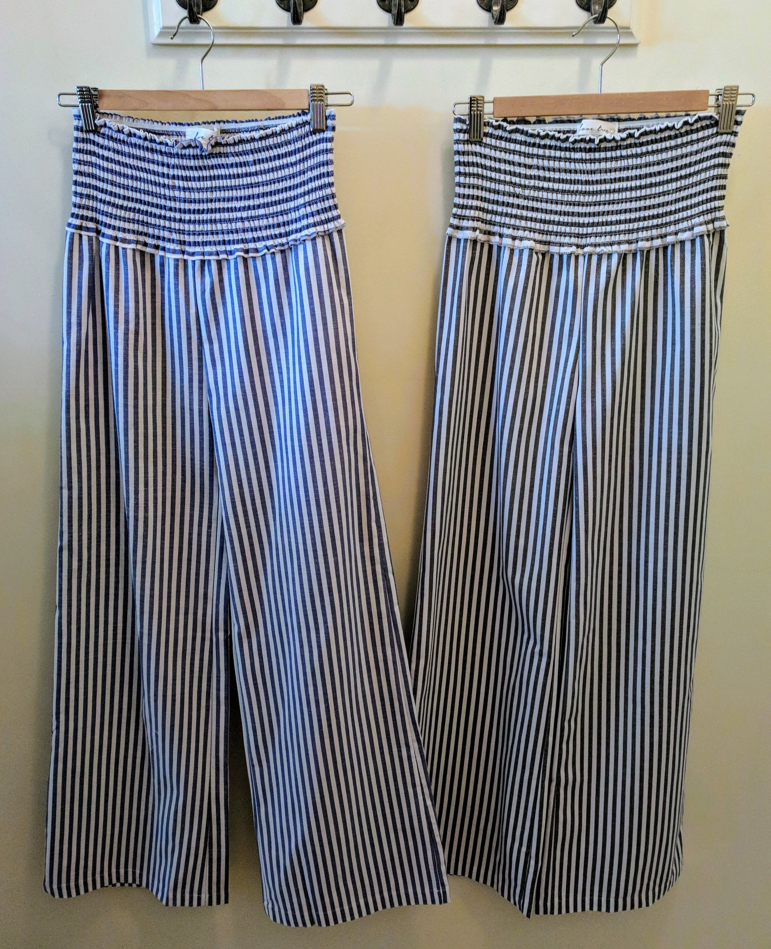 Navy and Black linen stripe high-waisted pant.