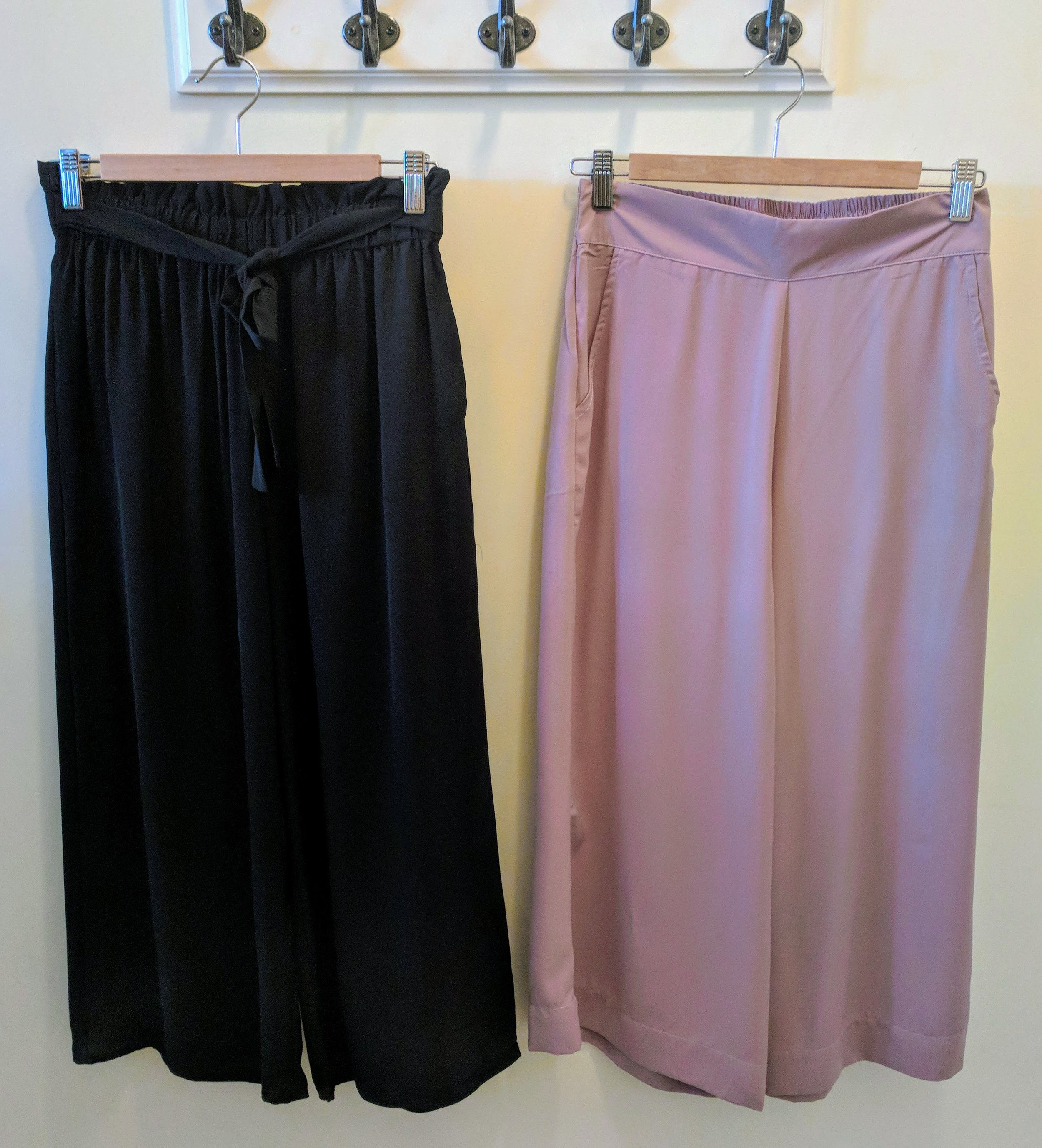 Black and Taupe culotte pants with elastic waistband.