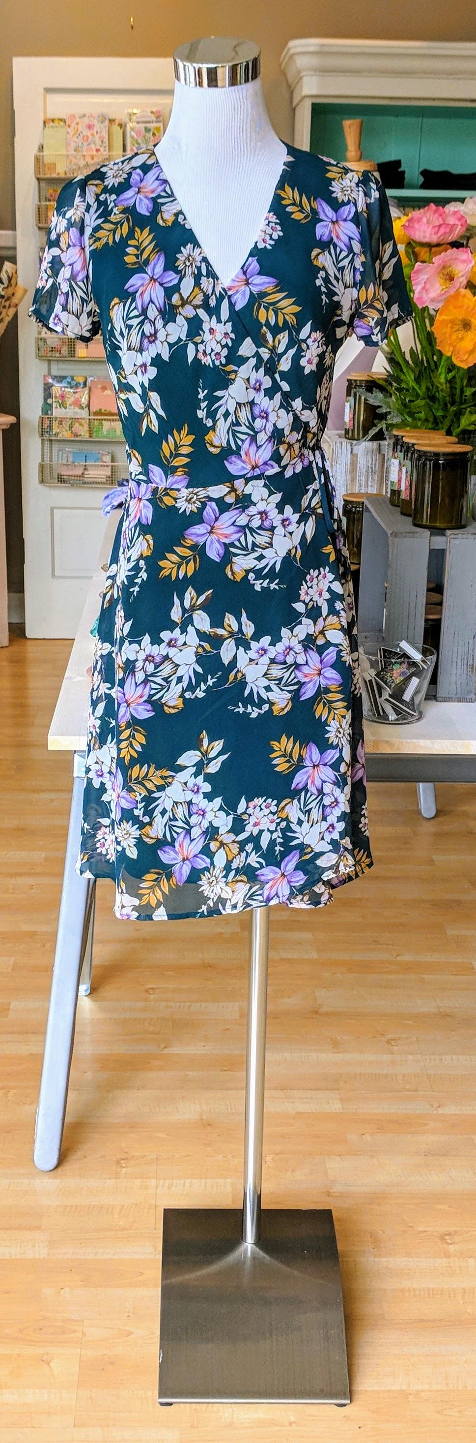 Hunter green floral wrap dress.