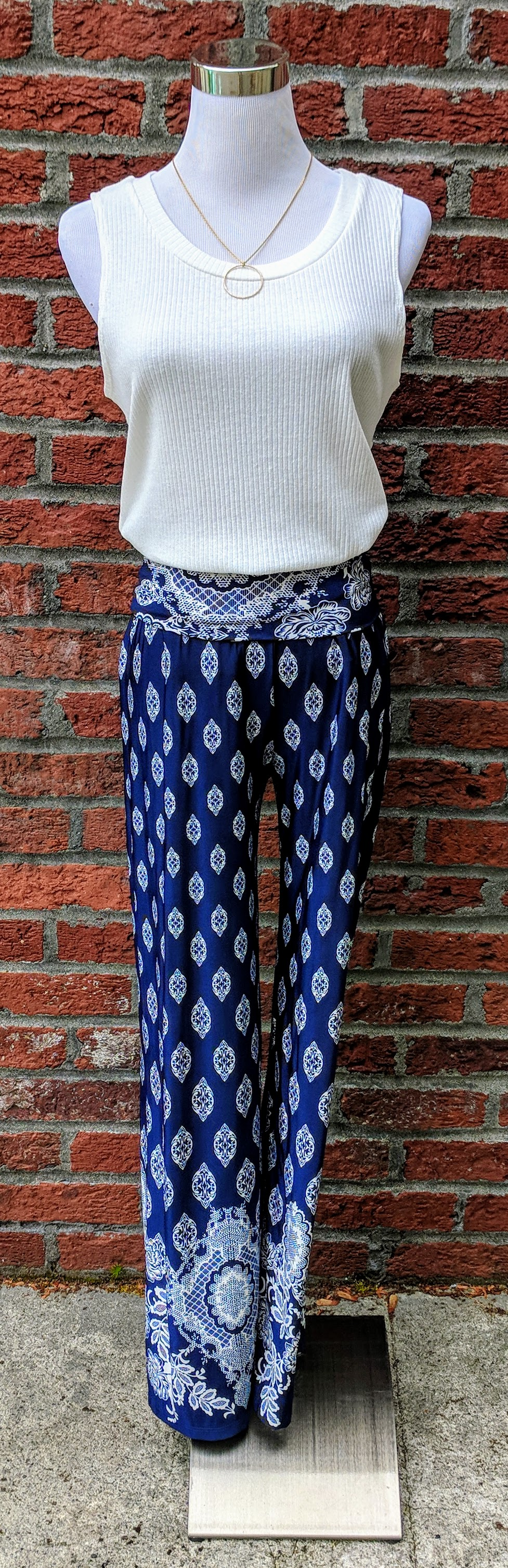 Navy and white flare palazzo pants with tribal print.